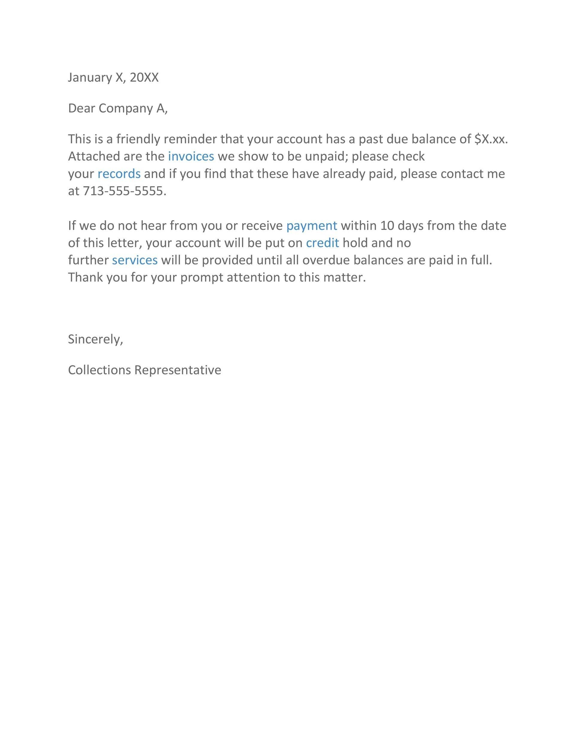 Free collection letter template 09
