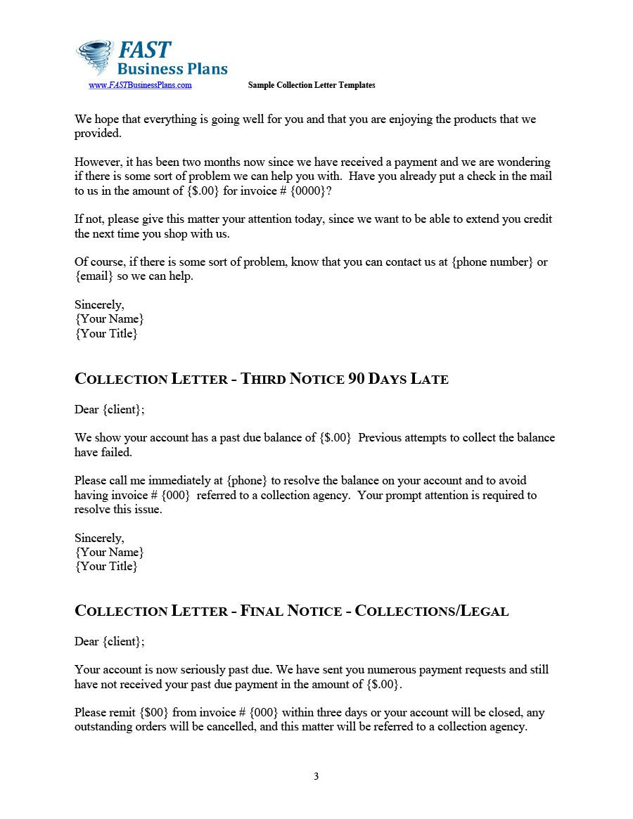 Free collection letter template 28