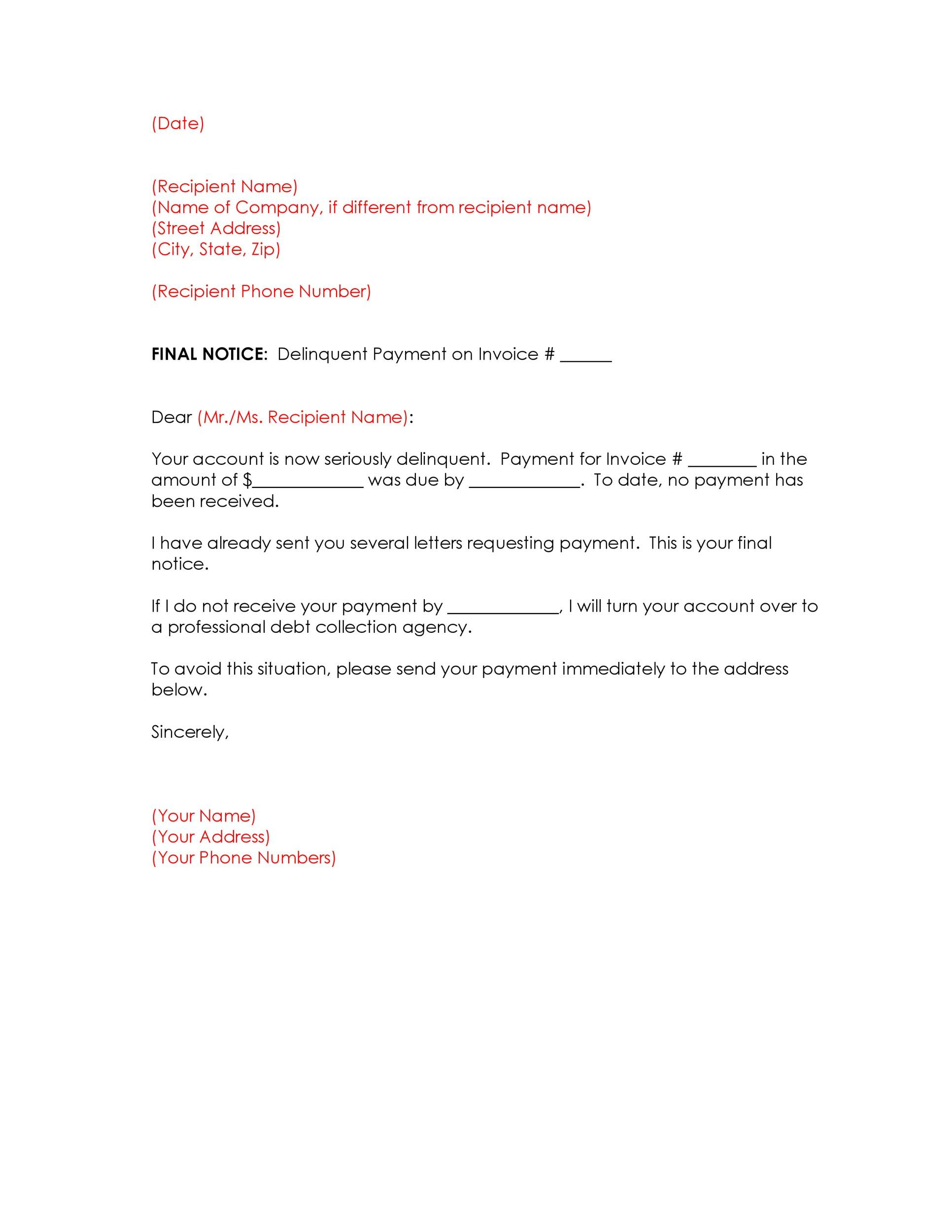 Free collection letter template 42