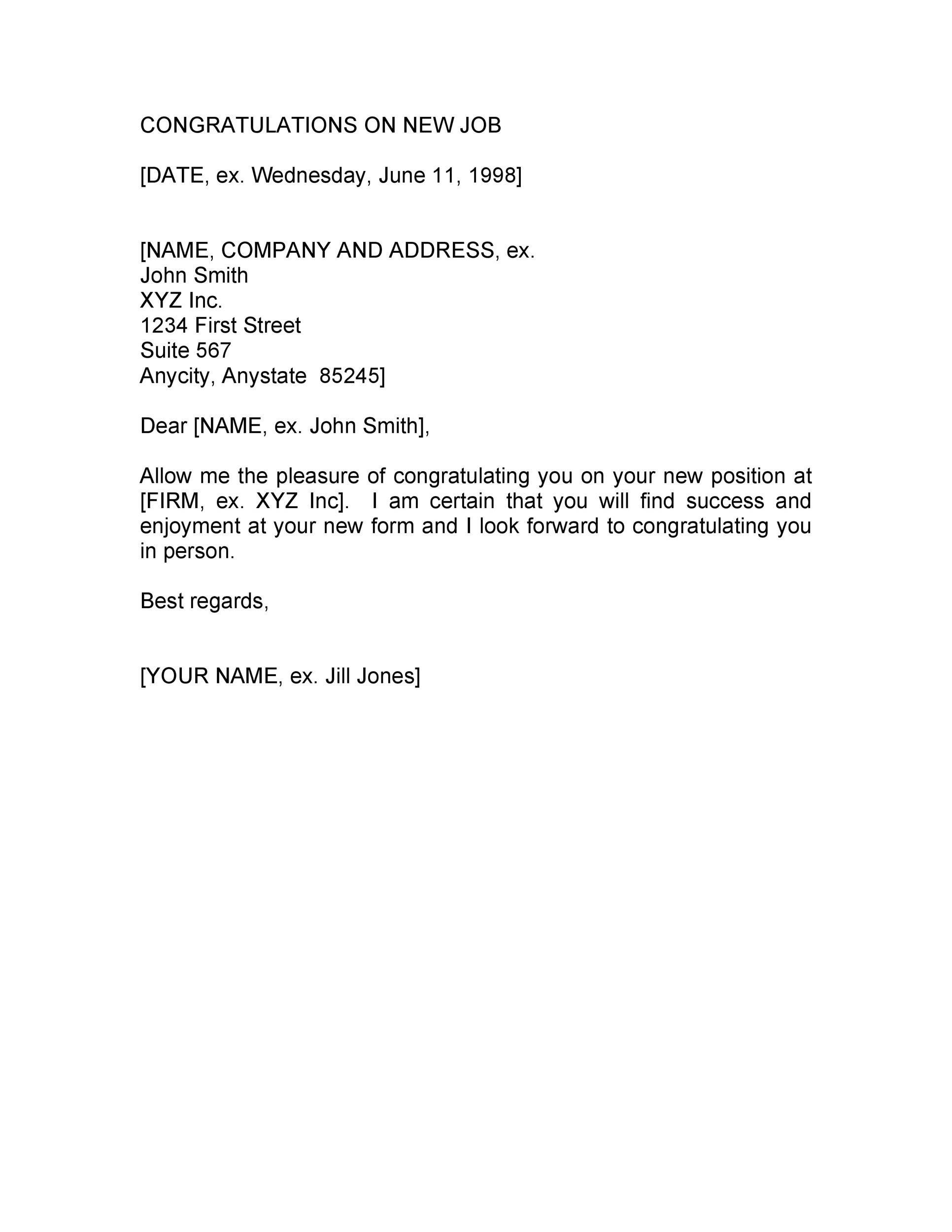 Congratulations Letter New Job from templatelab.com