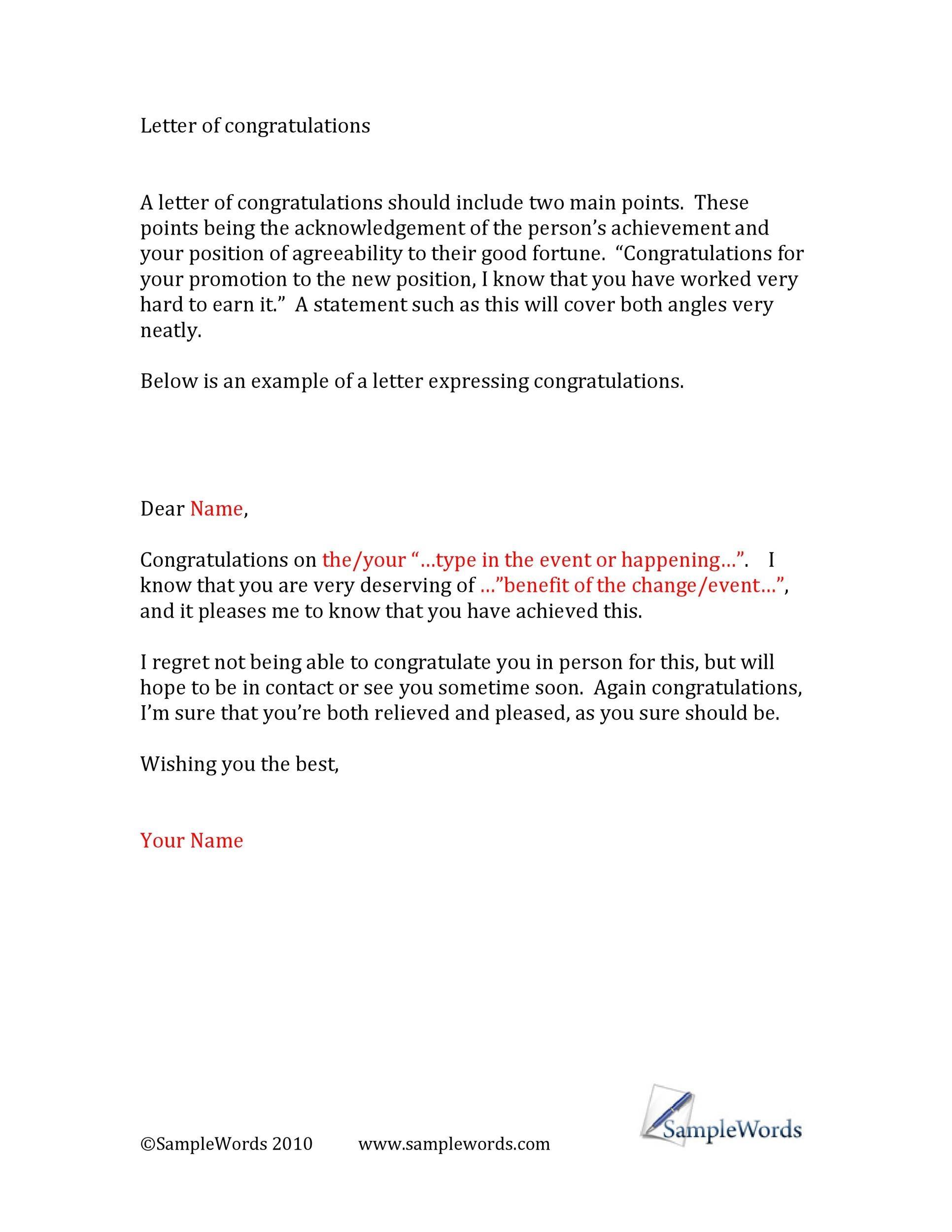 Free congratulations letter 37