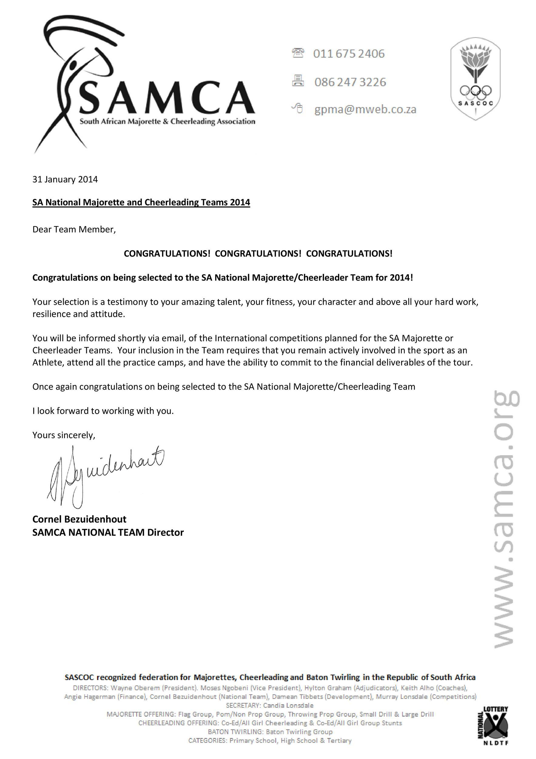 Free congratulations letter 46