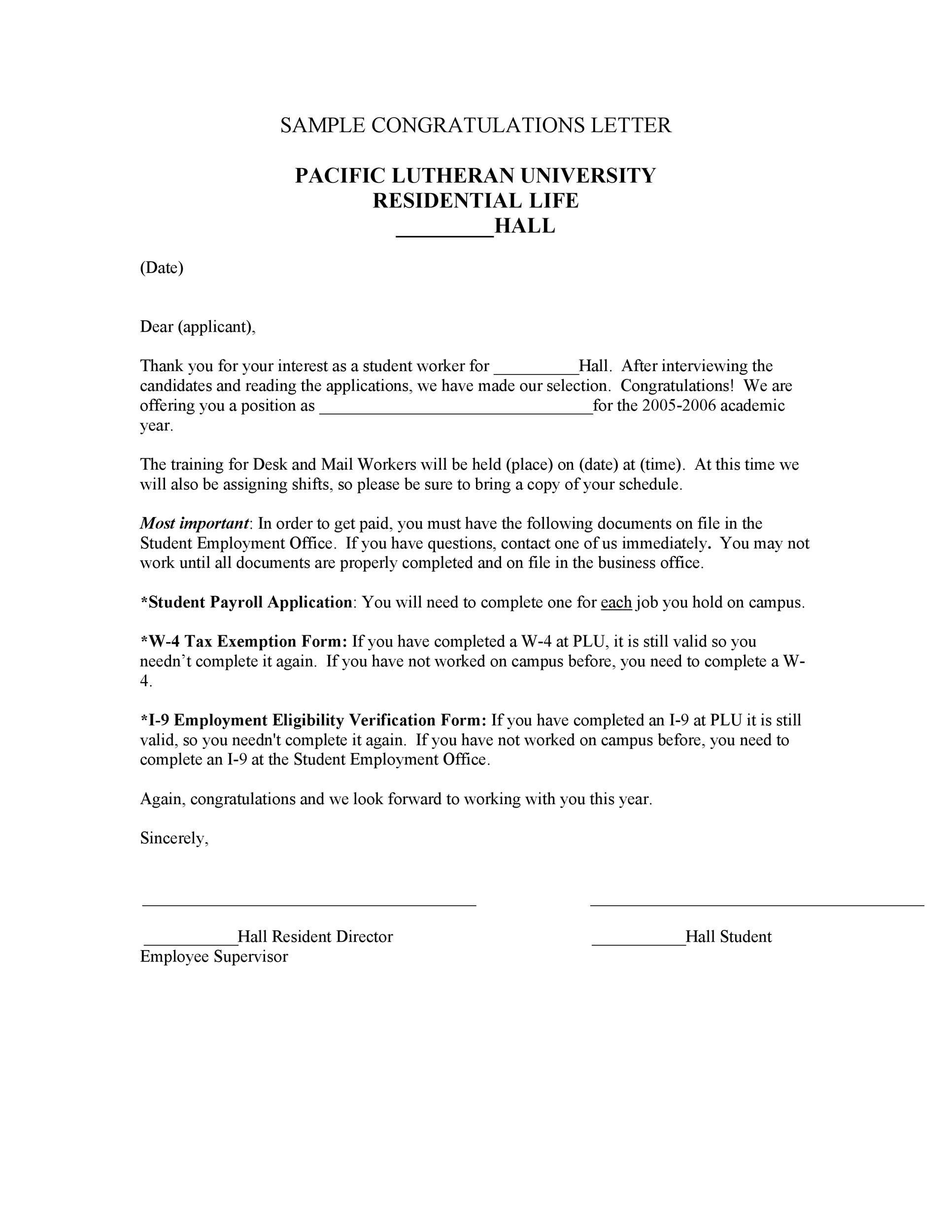 Free congratulations letter 48