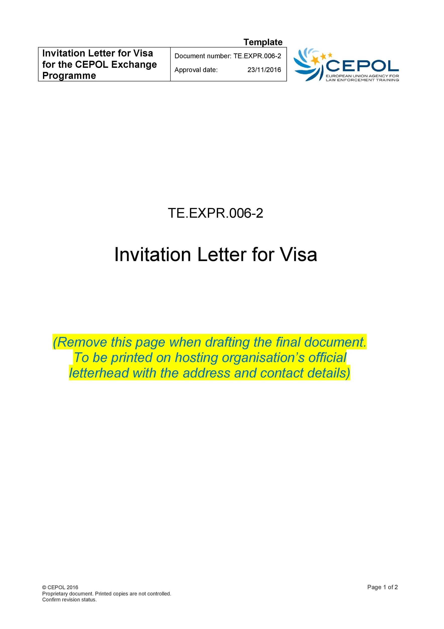 50 Best Invitation Letters (for Visa & General) ᐅ Template Lab