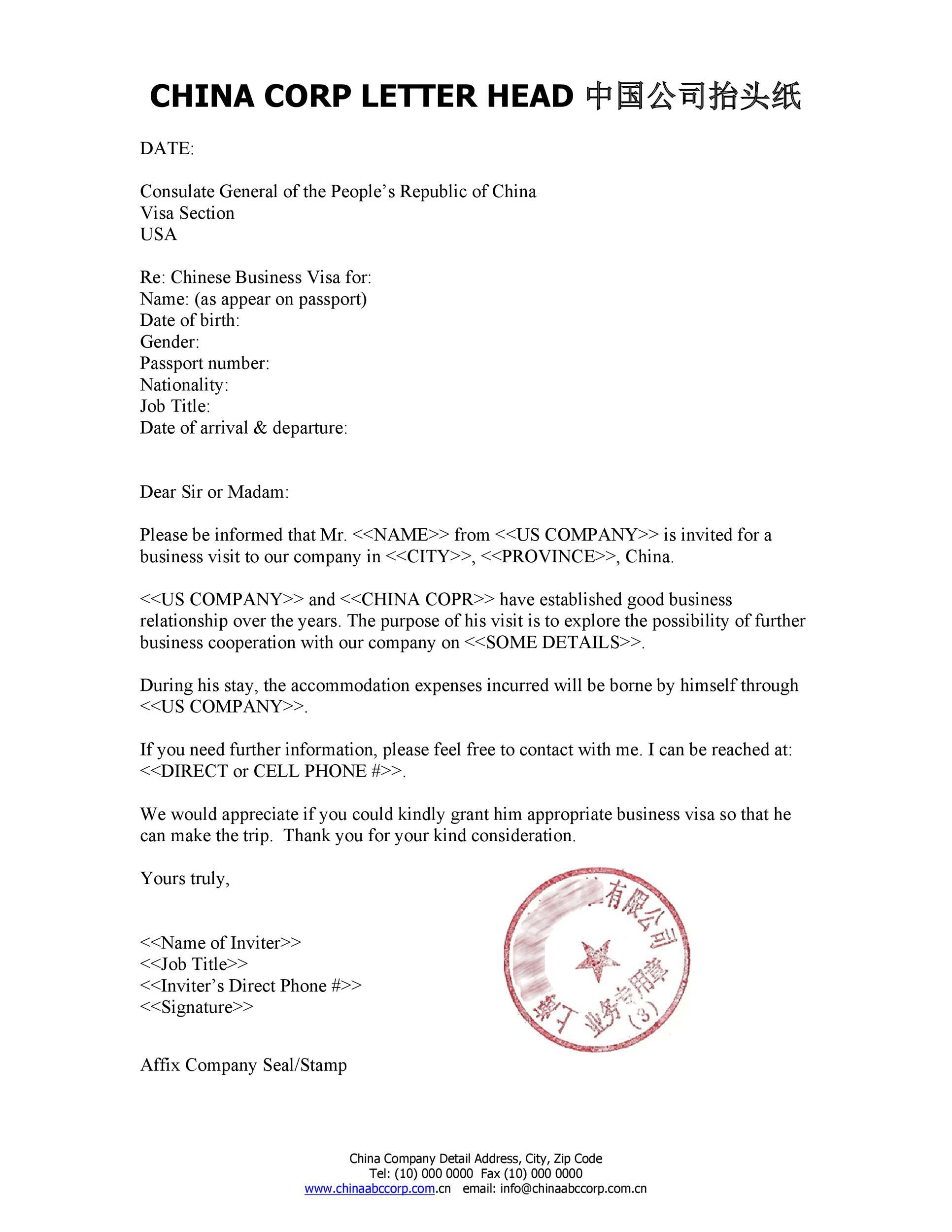 Sample Invitation Letter For Visa Application from templatelab.com