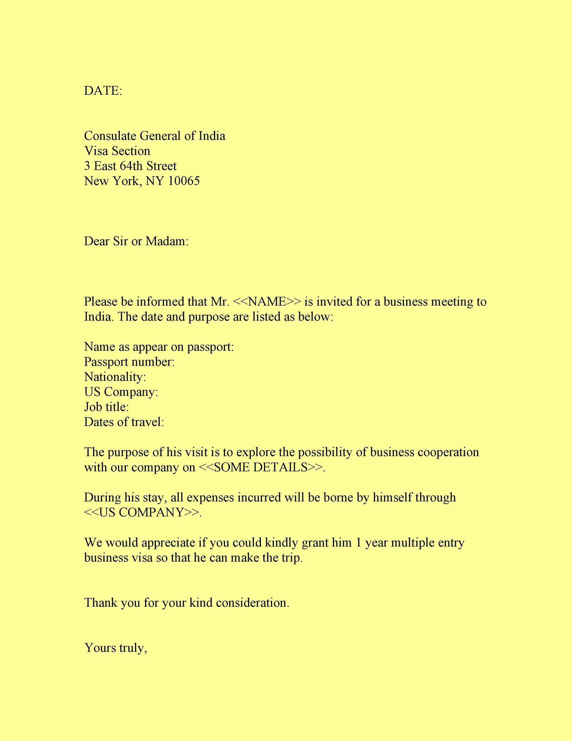 50 Best Invitation Letters (for Visa & General) ᐅ Template Lab