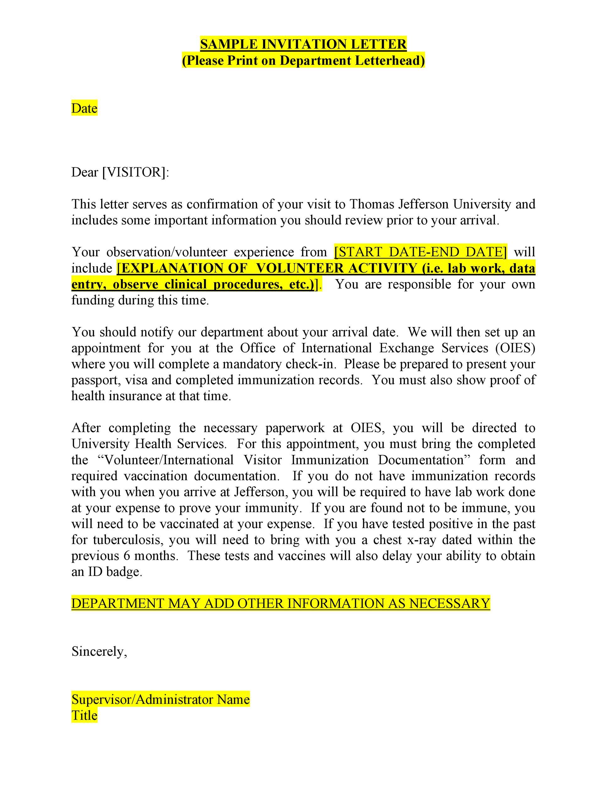 Free invitation letter 11