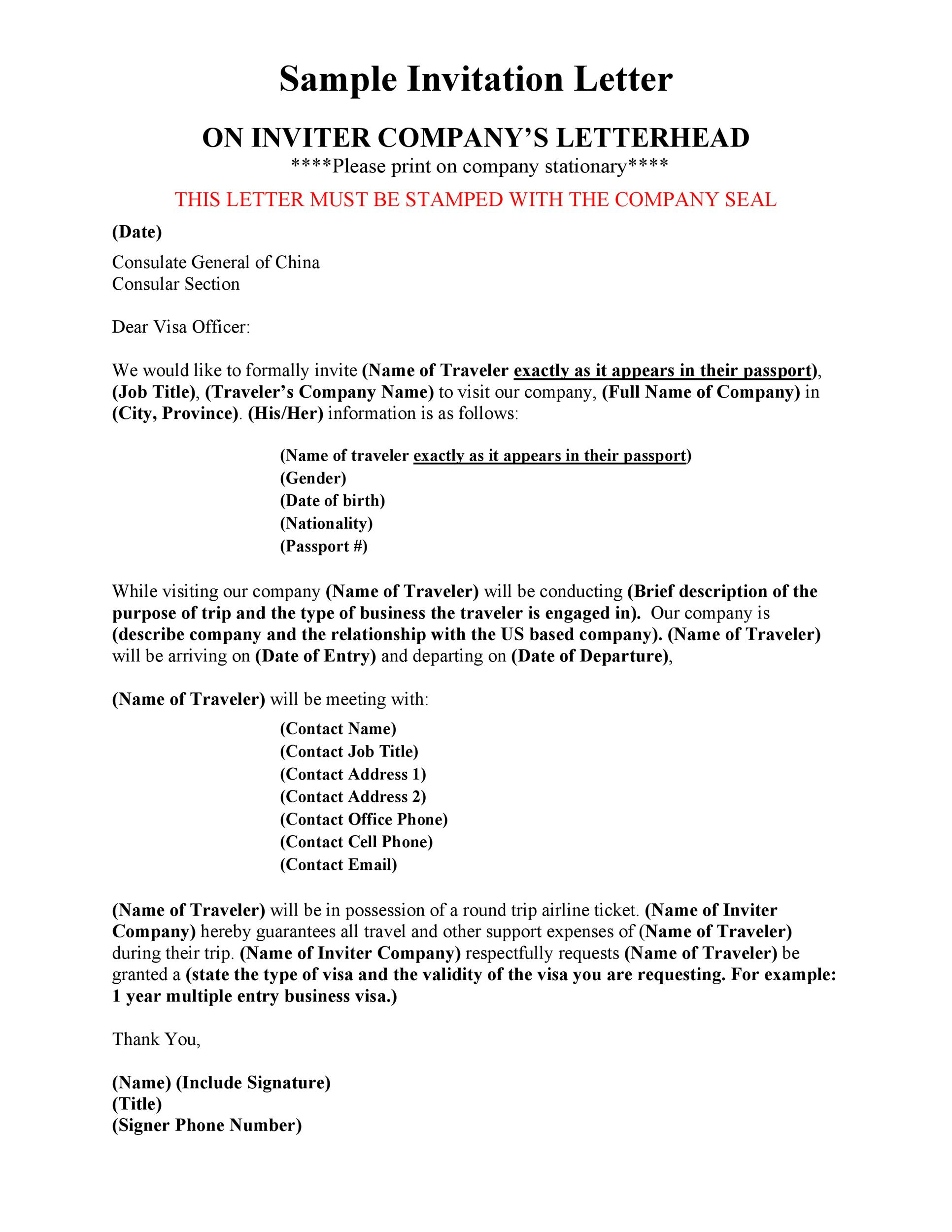 Free invitation letter 29
