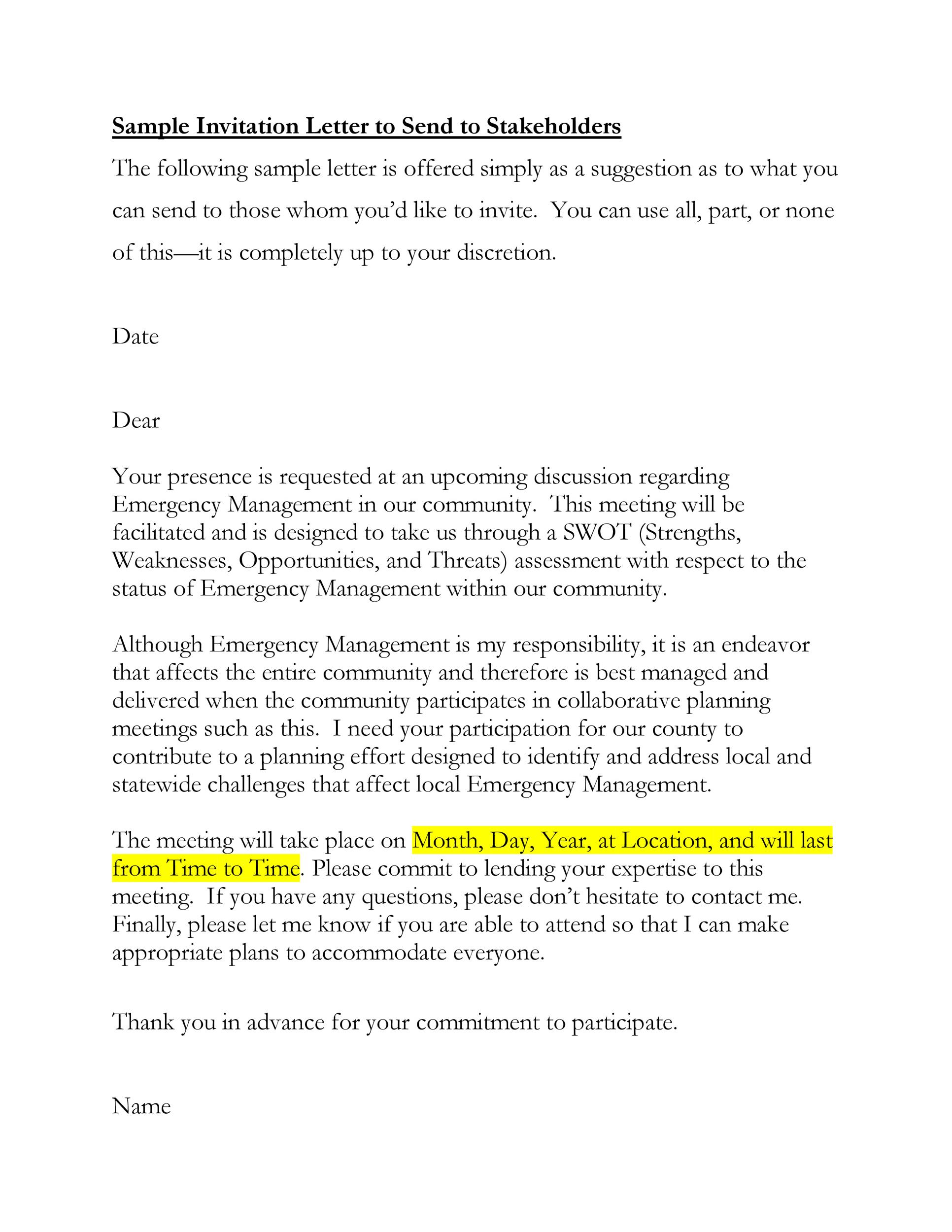 Free invitation letter 30