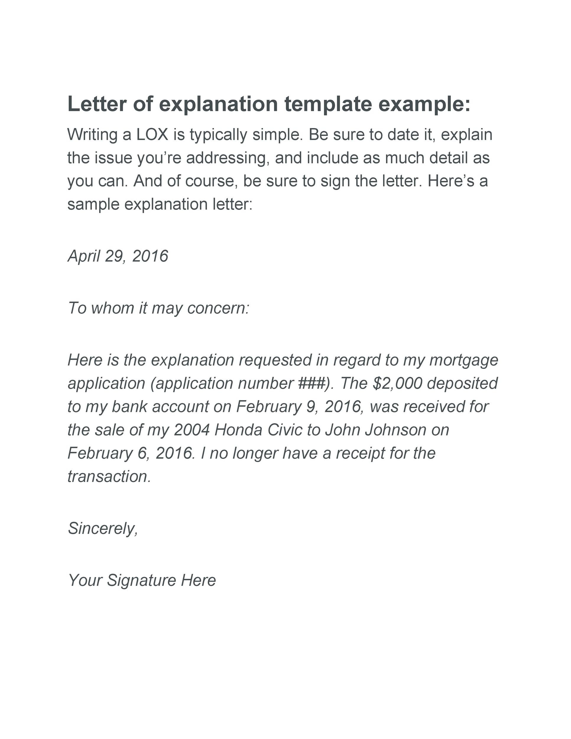 Free letter of explanation 01