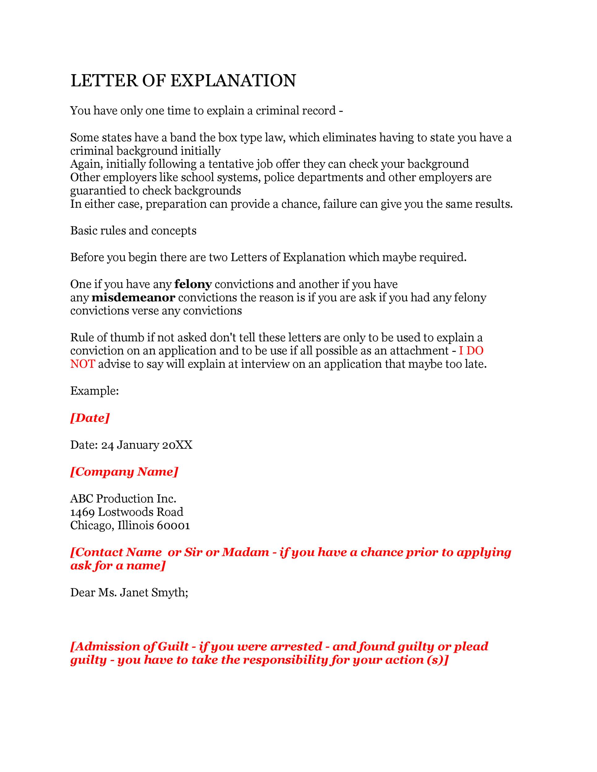Free letter of explanation 07
