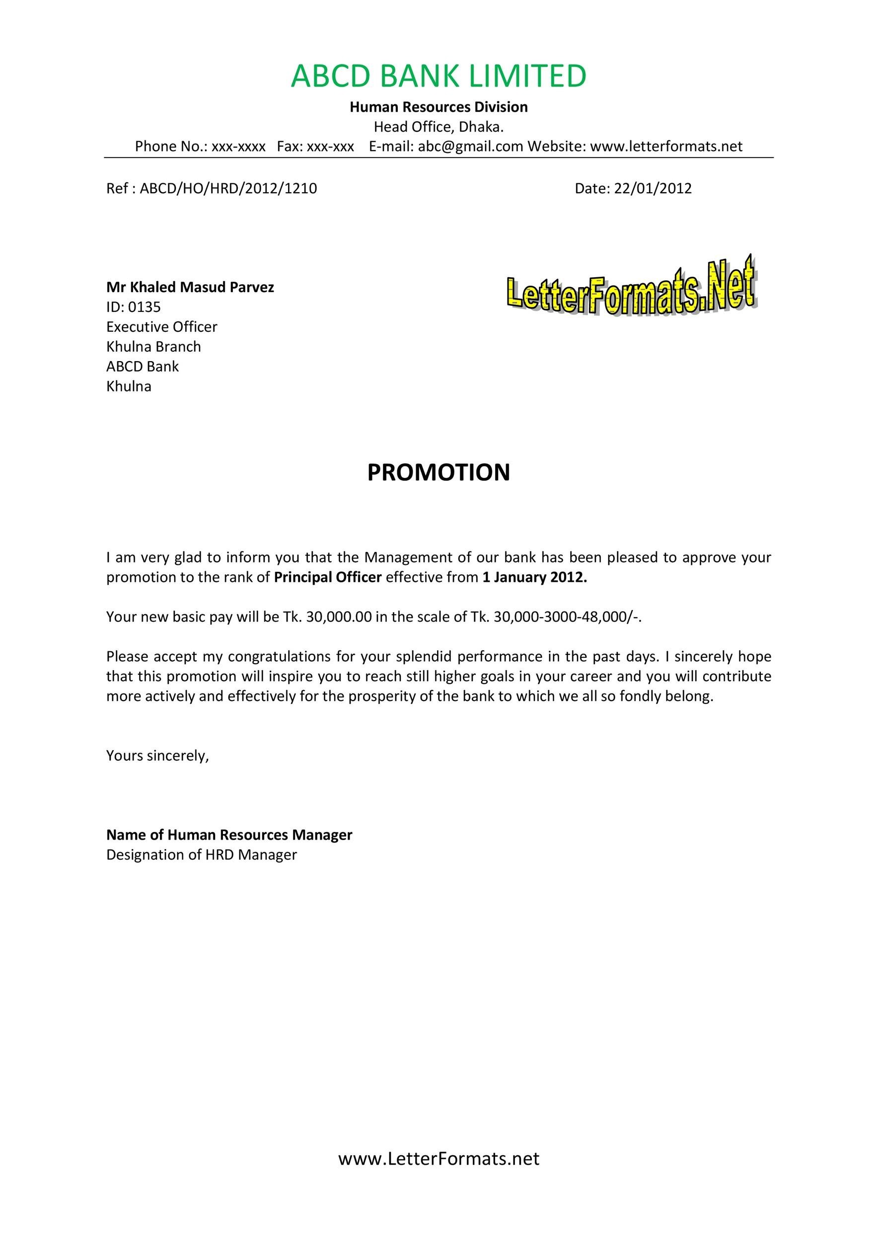 Free promotion letter 01