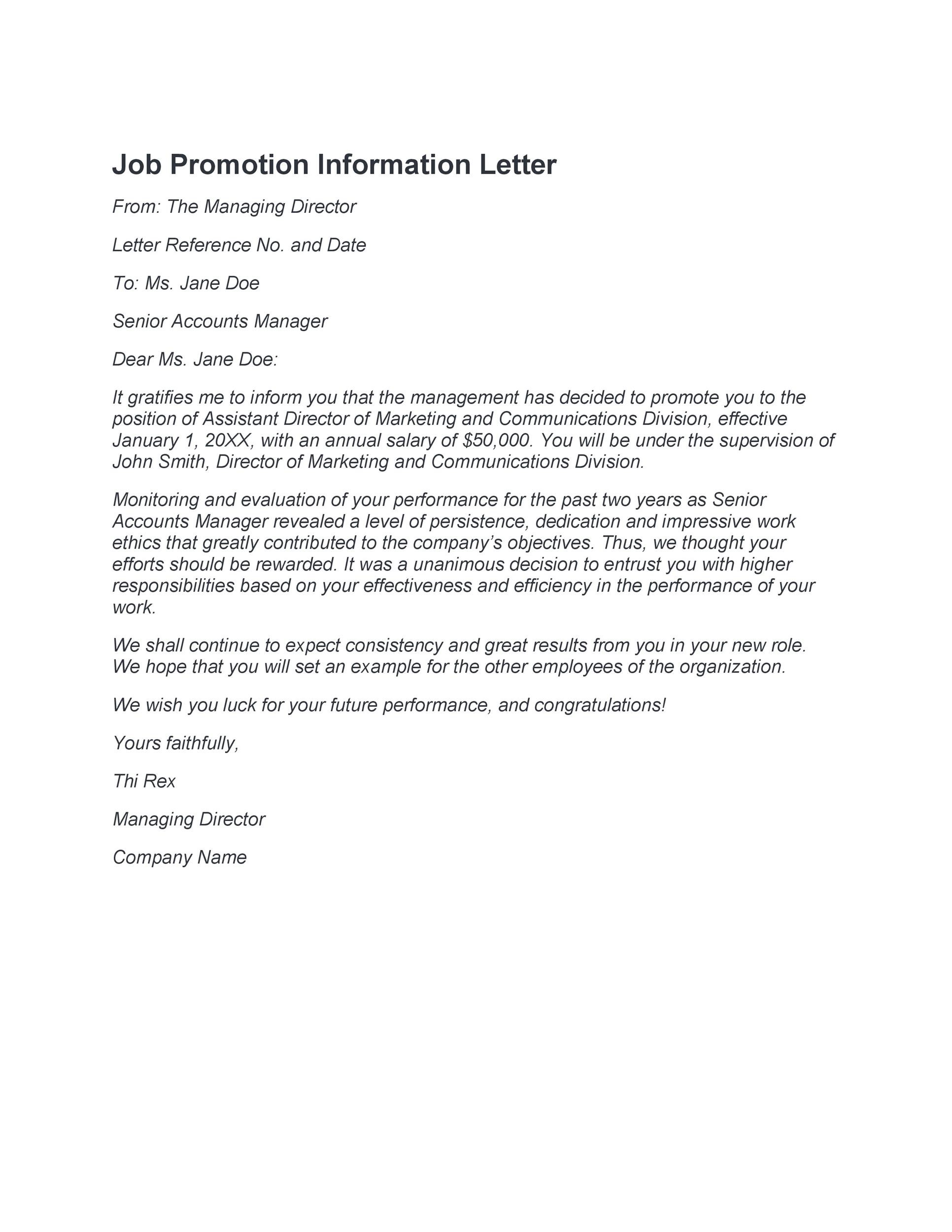 Free promotion letter 10
