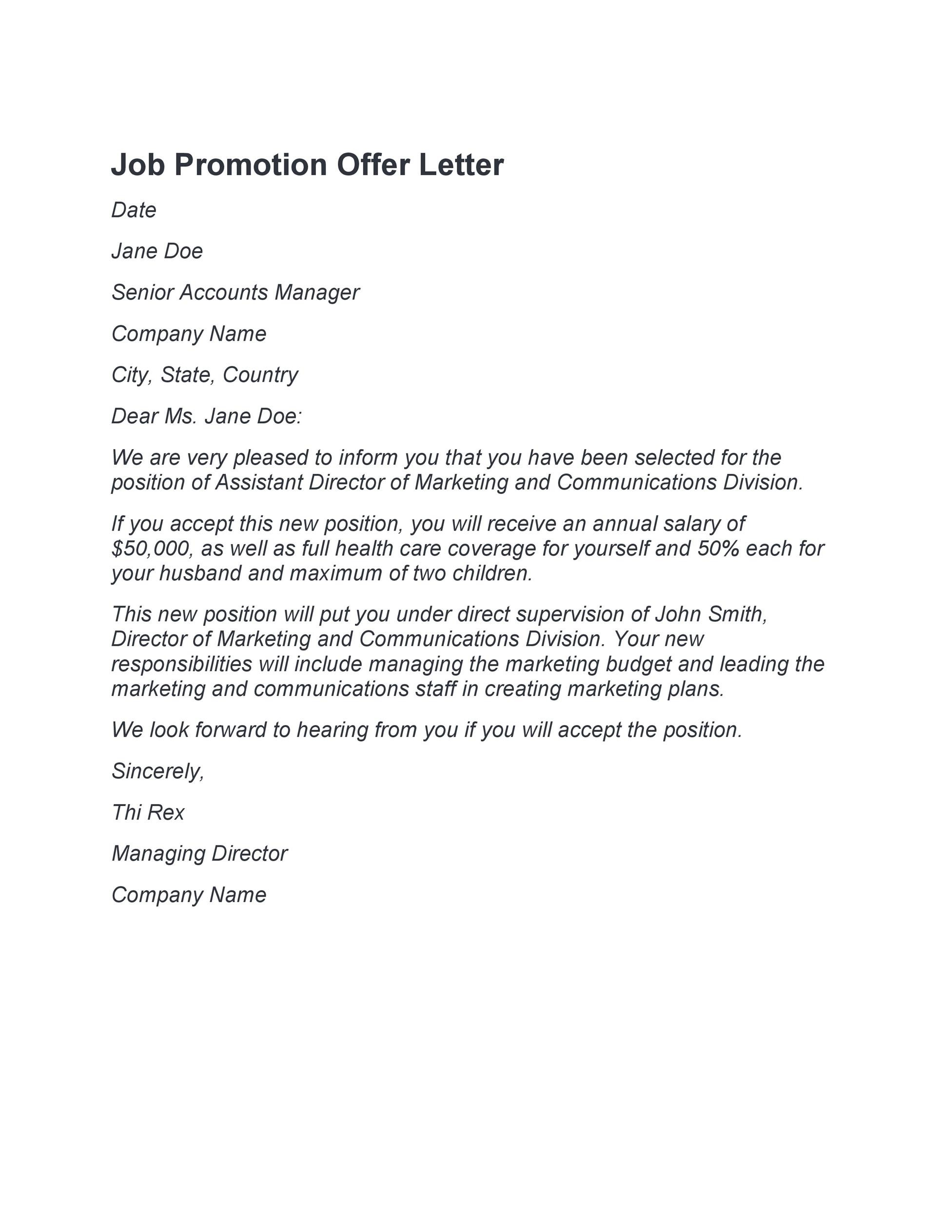 50 Job Promotion Letters (100% Free Templates) ᐅ Template Lab