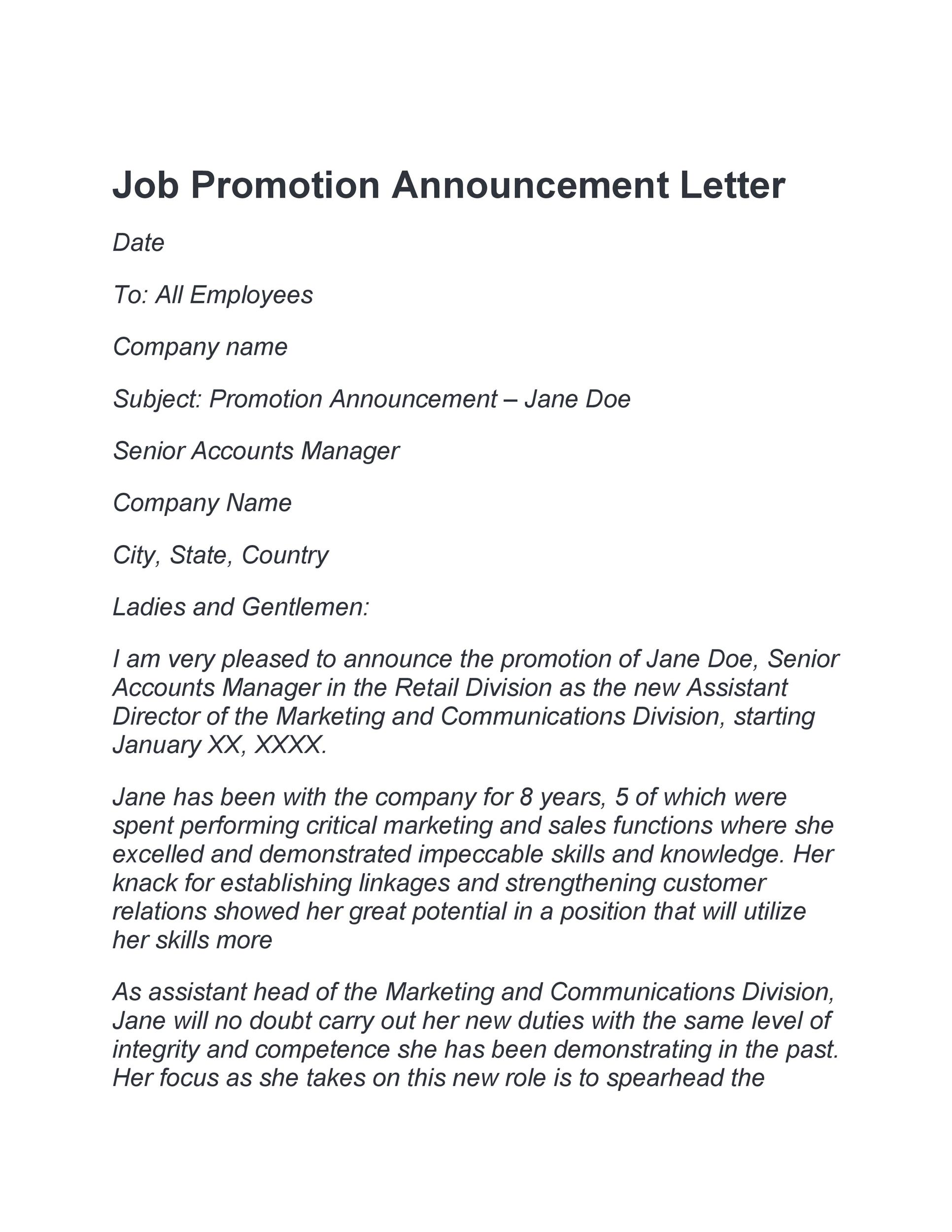Free promotion letter 12