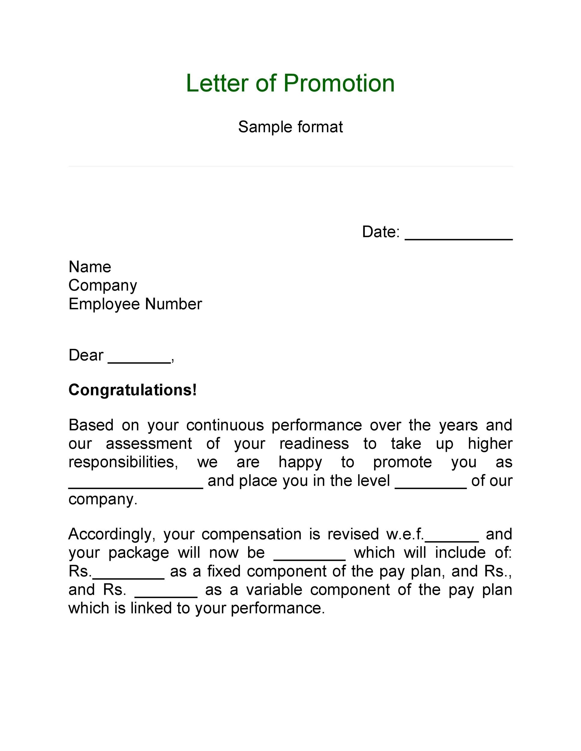 Free promotion letter 13