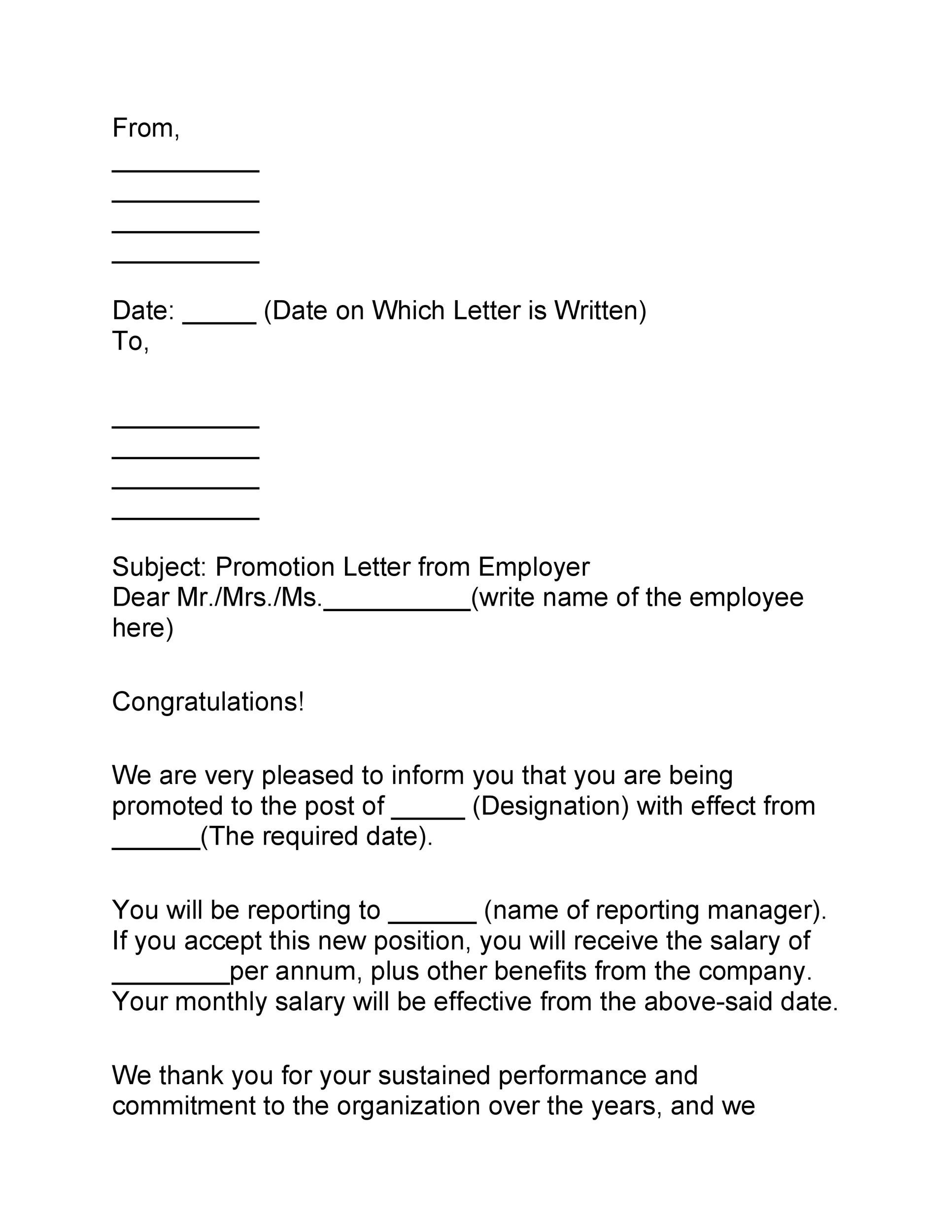 Free promotion letter 16