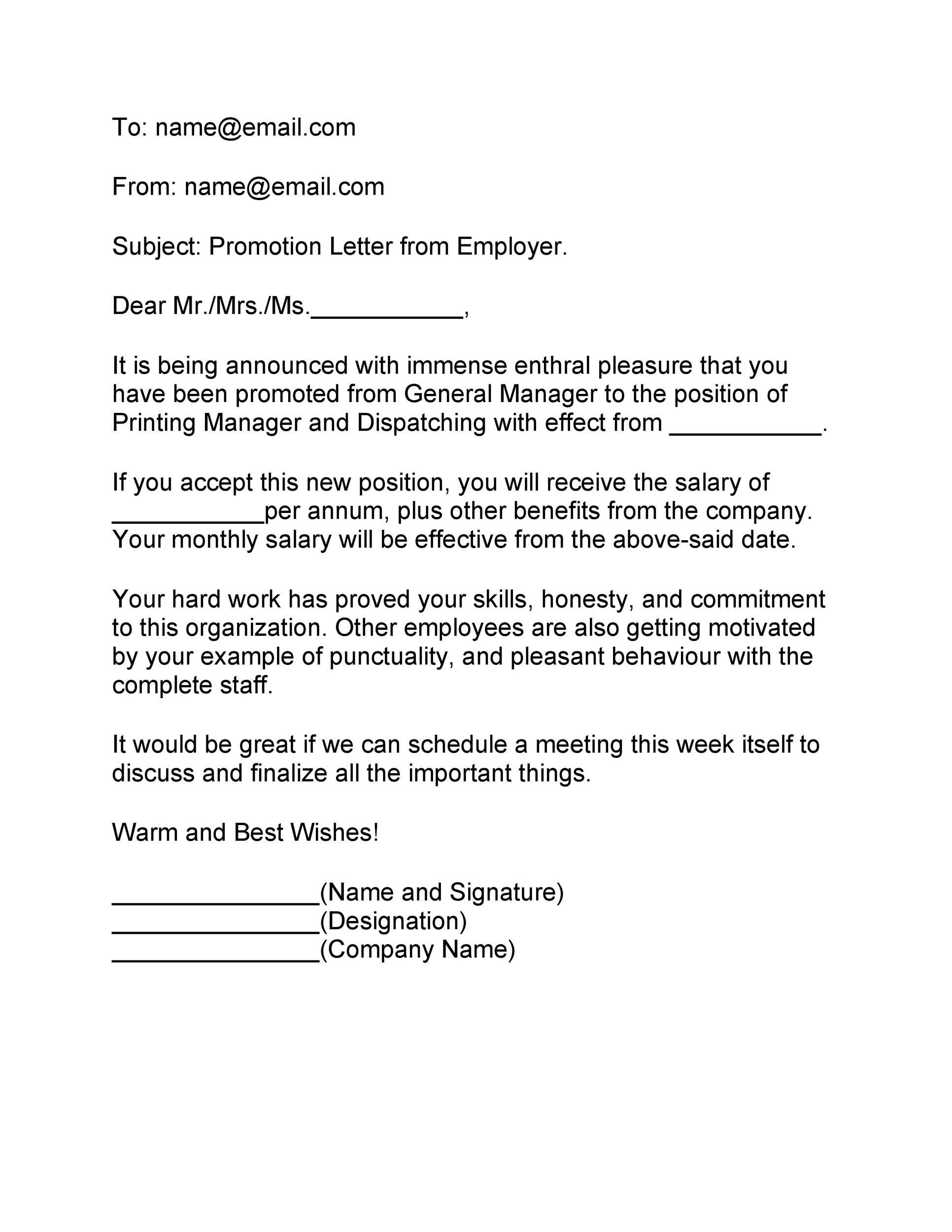 Free promotion letter 18