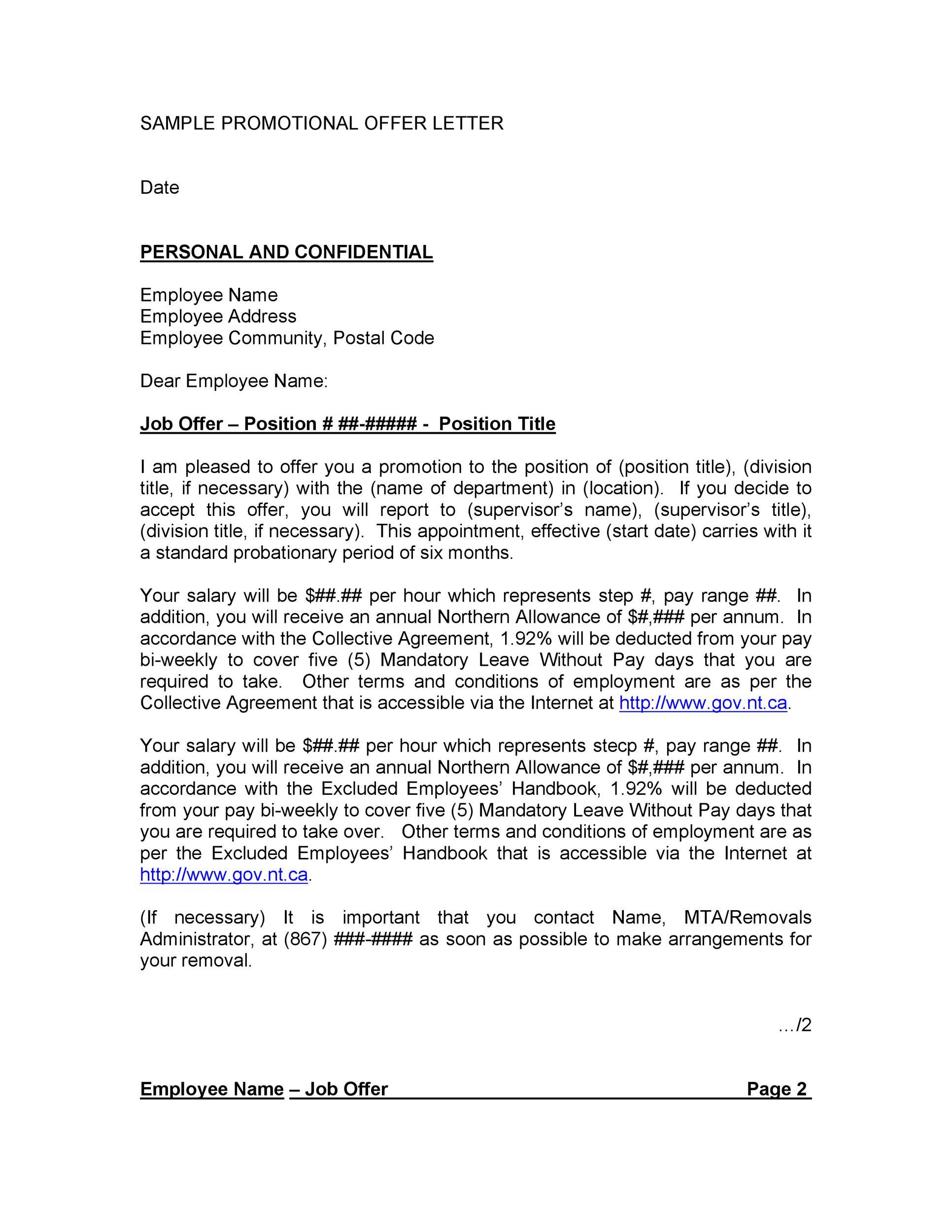 Free promotion letter 19