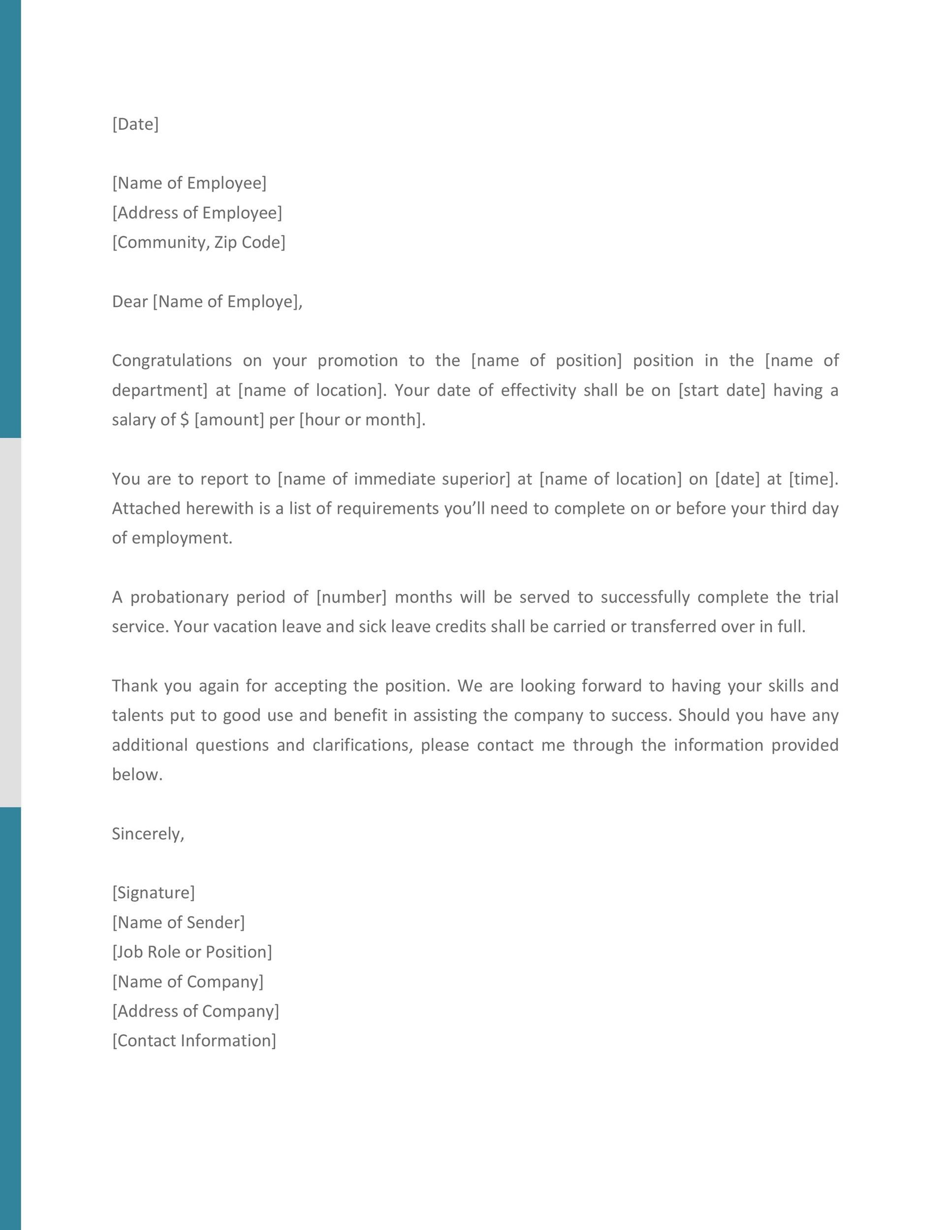 Free promotion letter 22