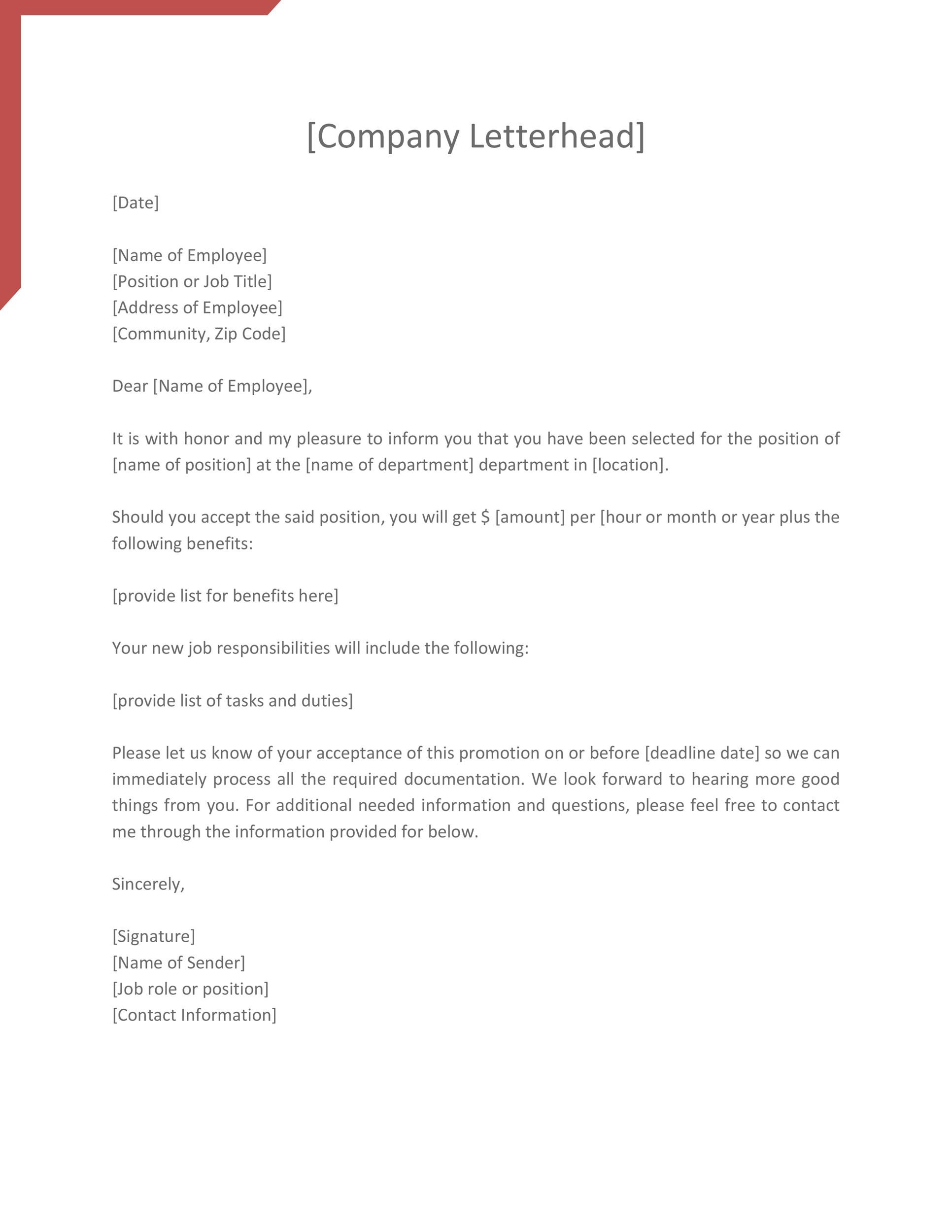 Free promotion letter 25