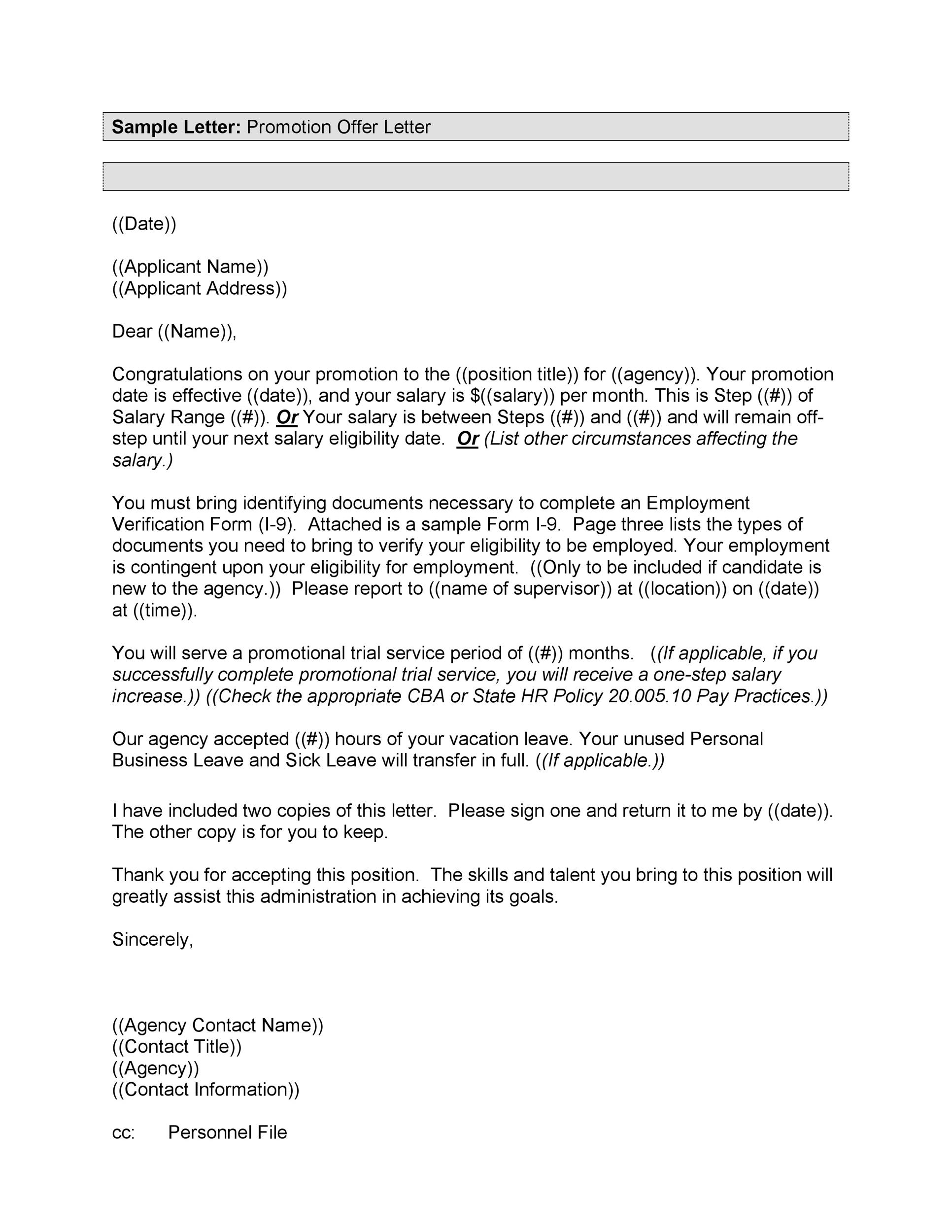Free promotion letter 26