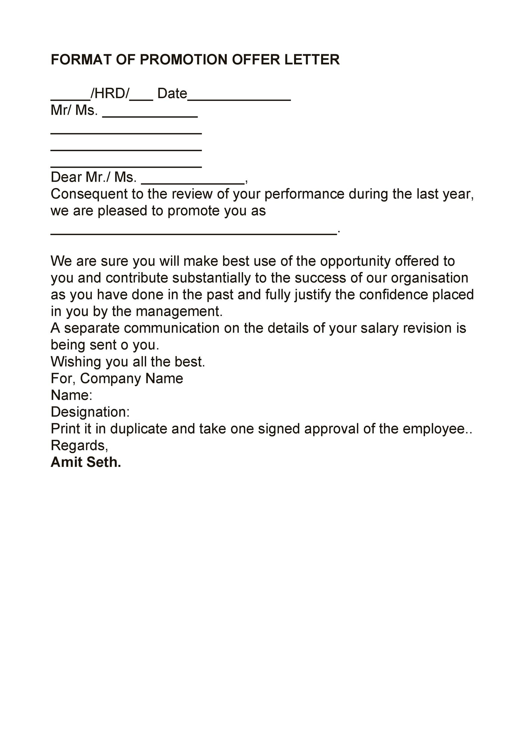Free promotion letter 27