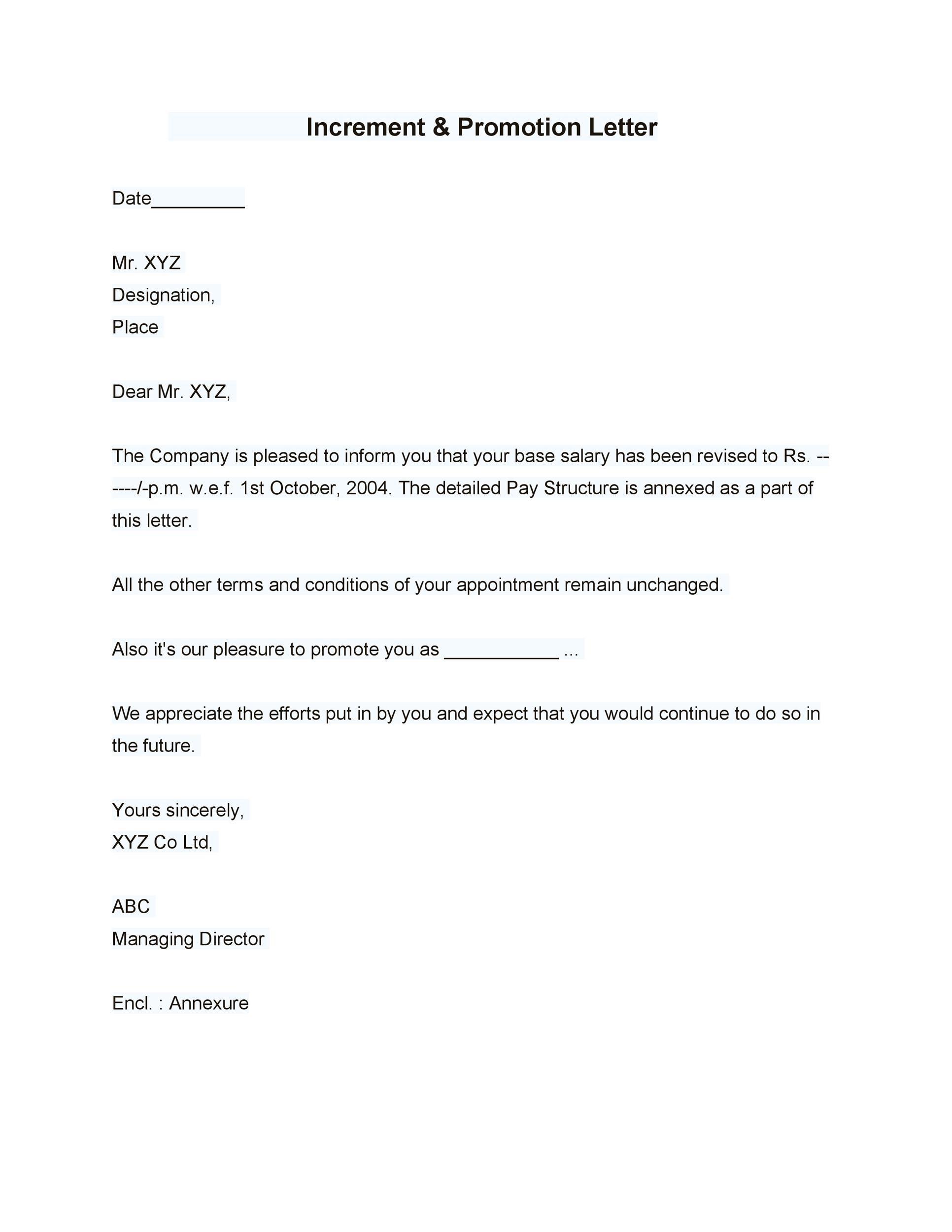 Free promotion letter 30