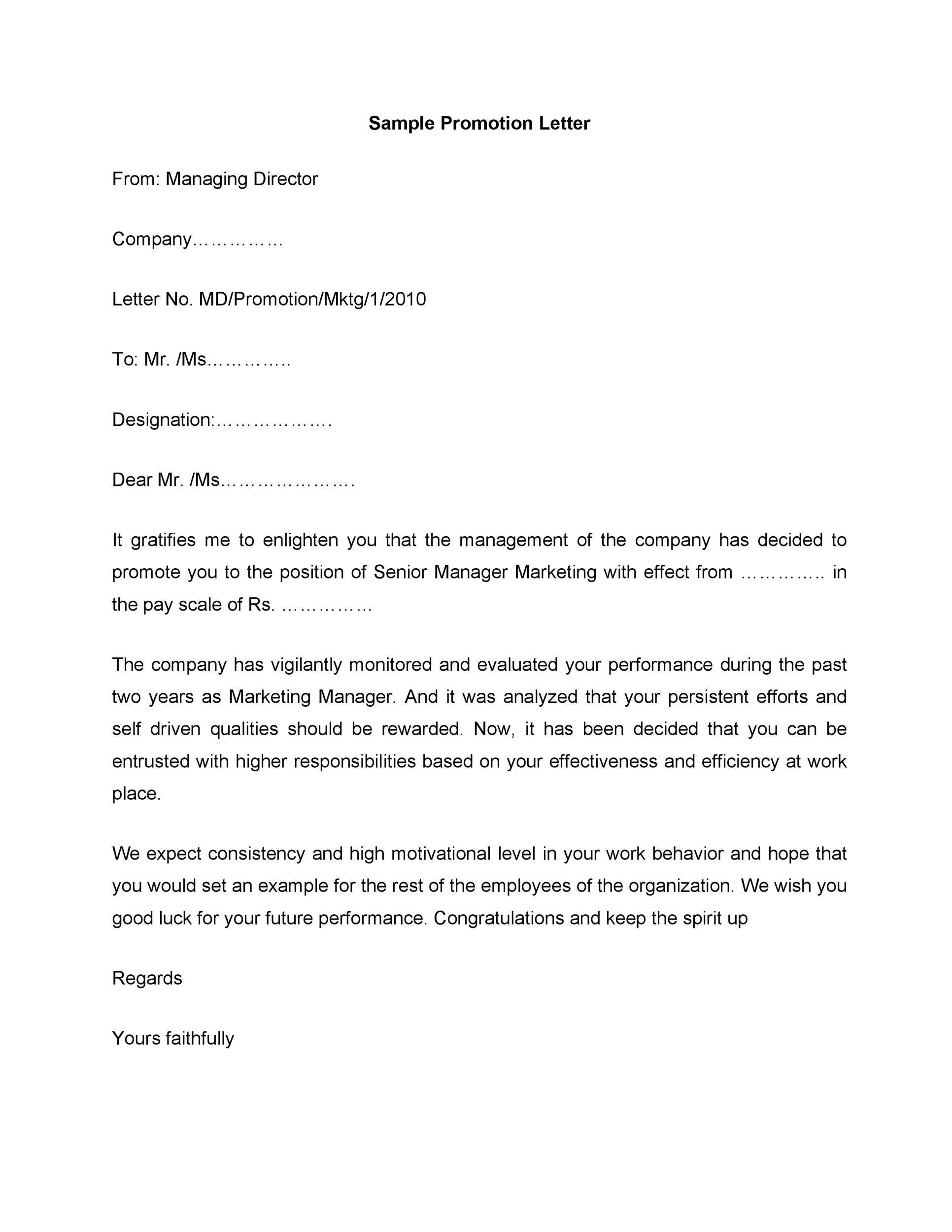 Free promotion letter 32