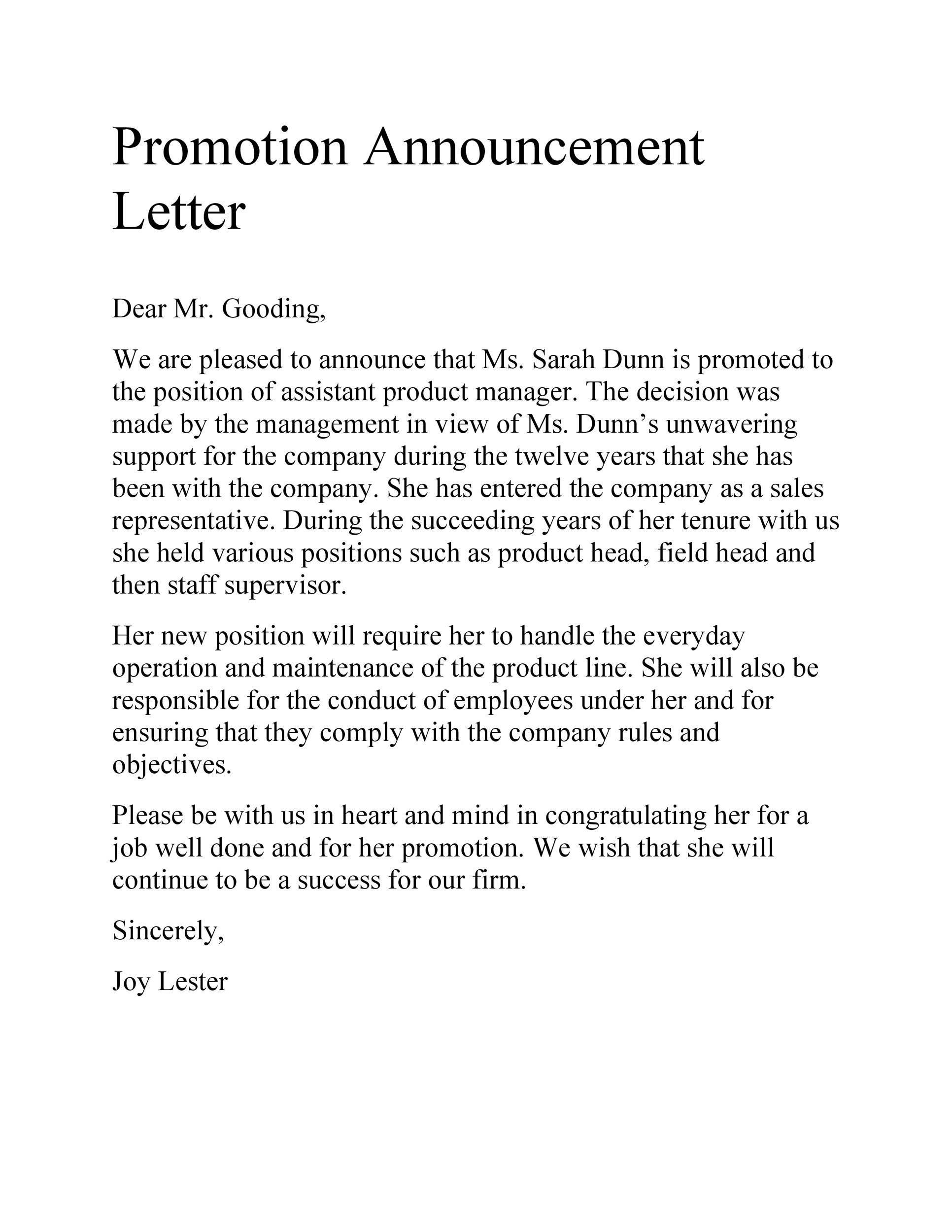 Free promotion letter 36