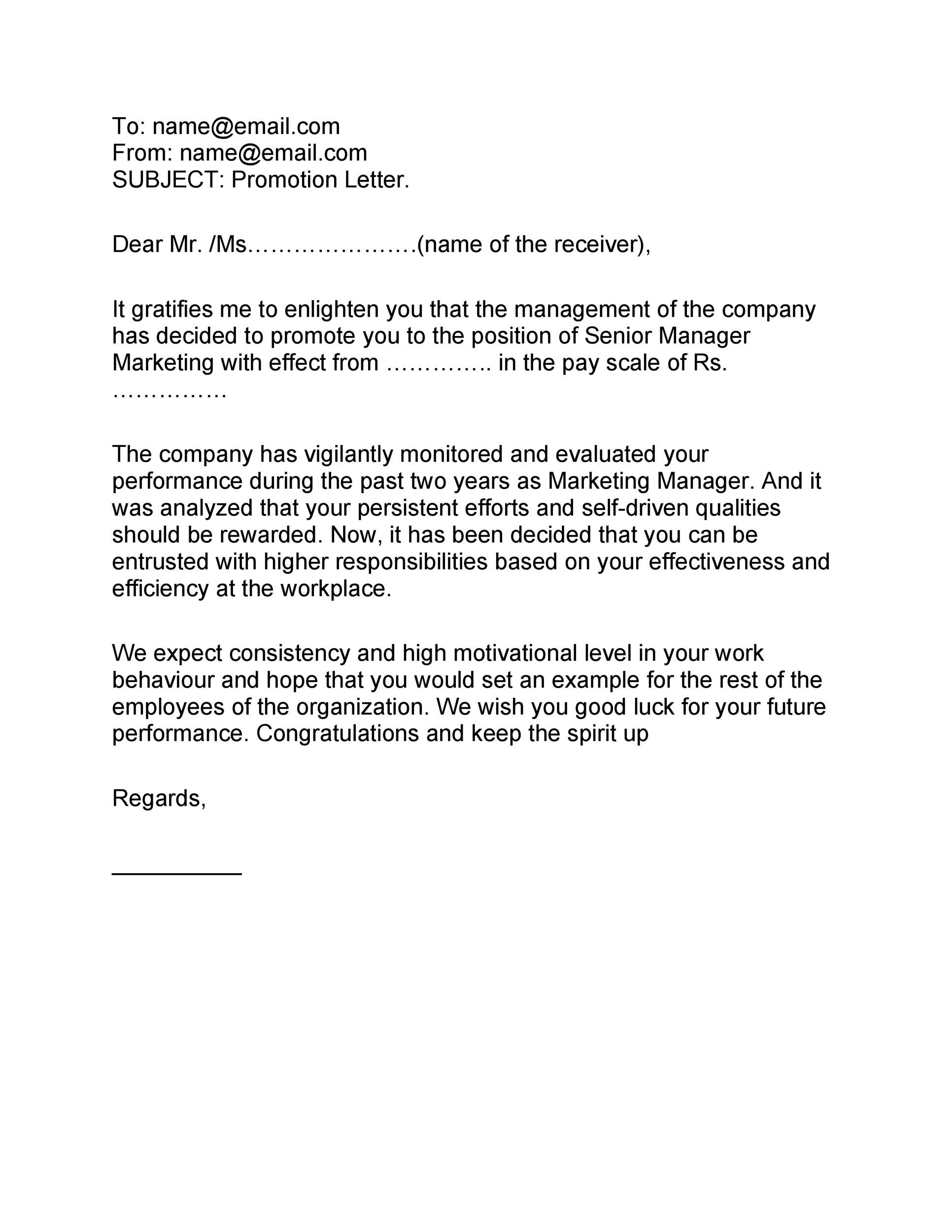 Free promotion letter 39