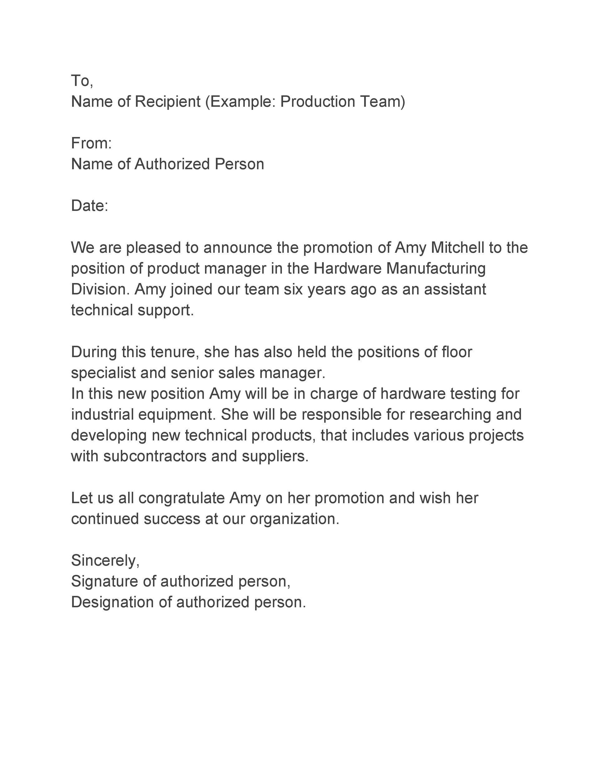 Free promotion letter 46
