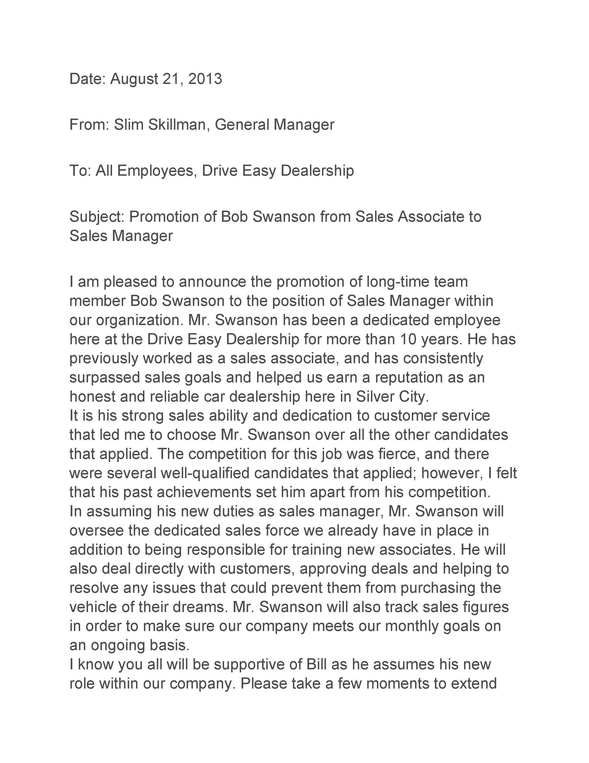 Free promotion letter 50