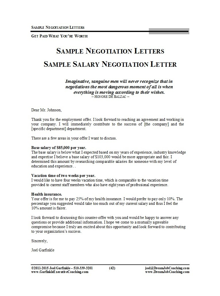 Counter Offer Salary Letter Sample.49 Best Salary Negotiation Letters Emails Tips ᐅ