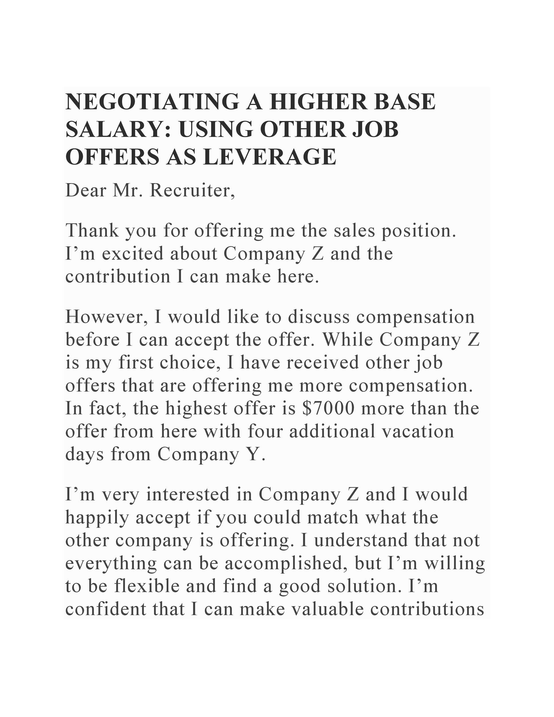 Lettre gratuite sur les négociations salariales 12