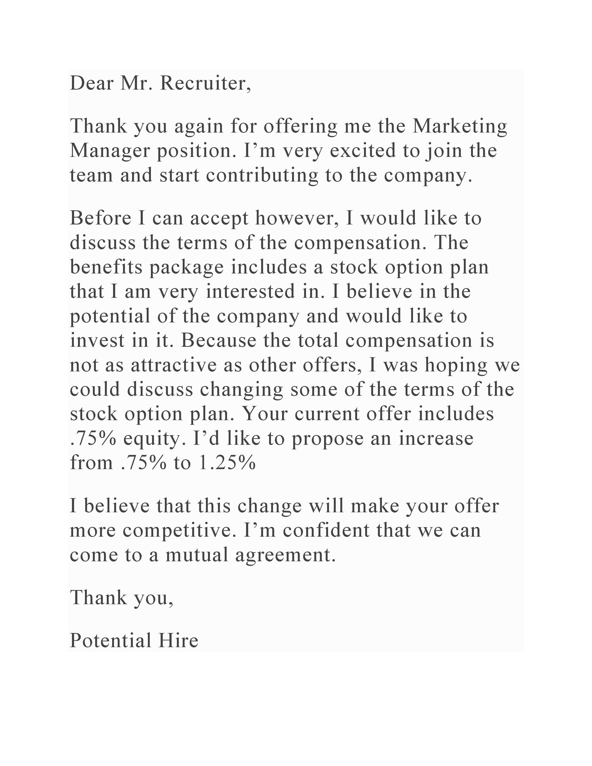 Free salary negotiation letter 15