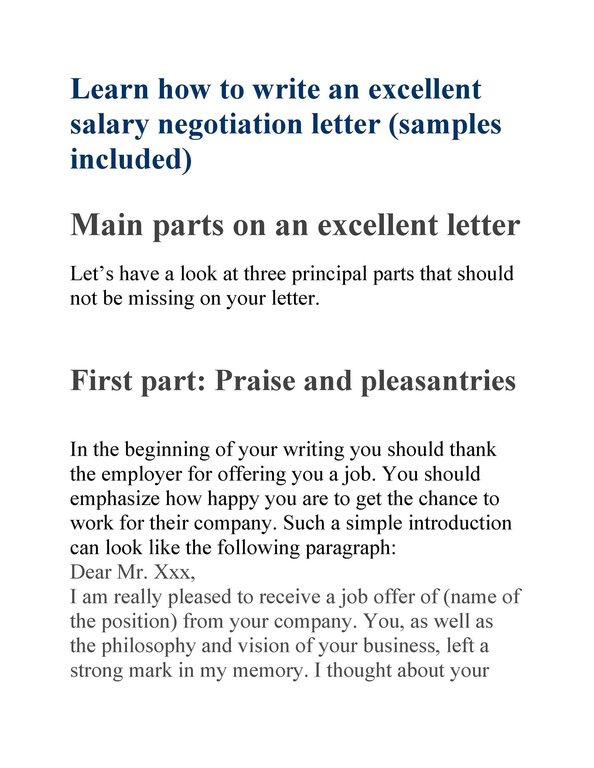 Lettre gratuite sur les négociations salariales 17
