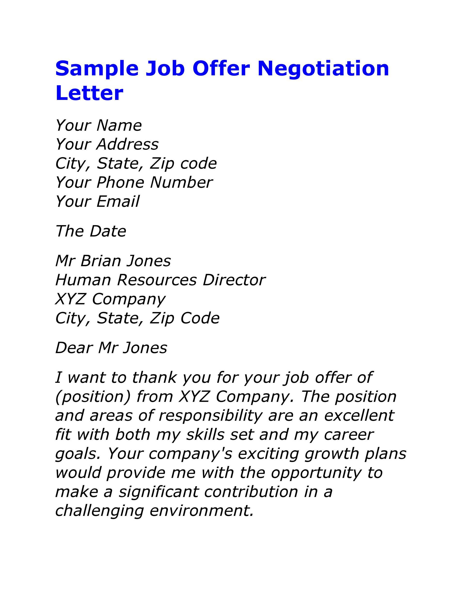 Lettre gratuite pour les négociations salariales 18