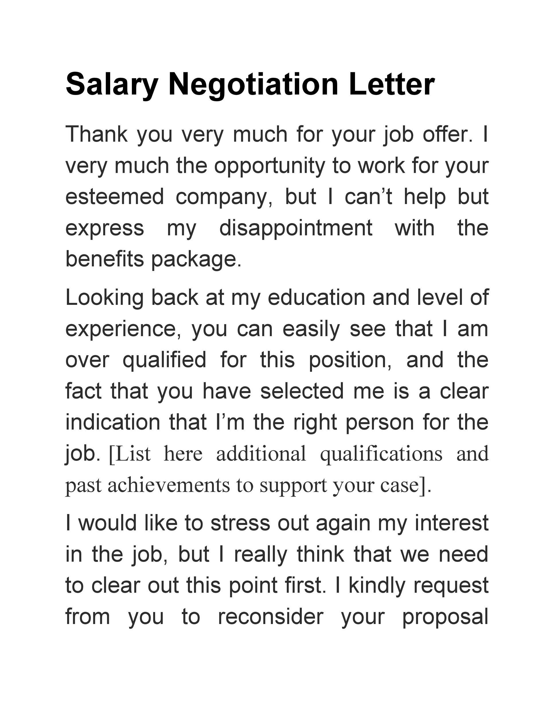 Lettre gratuite pour les négociations salariales 20