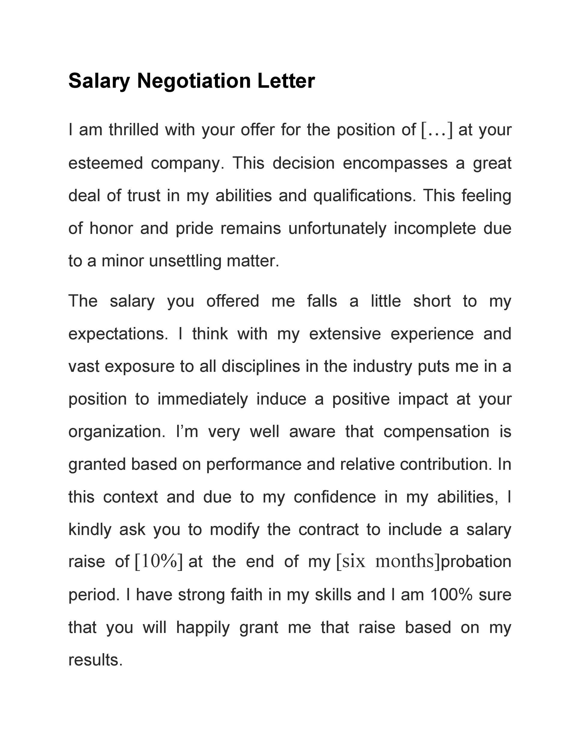 Lettre gratuite pour les négociations salariales 25