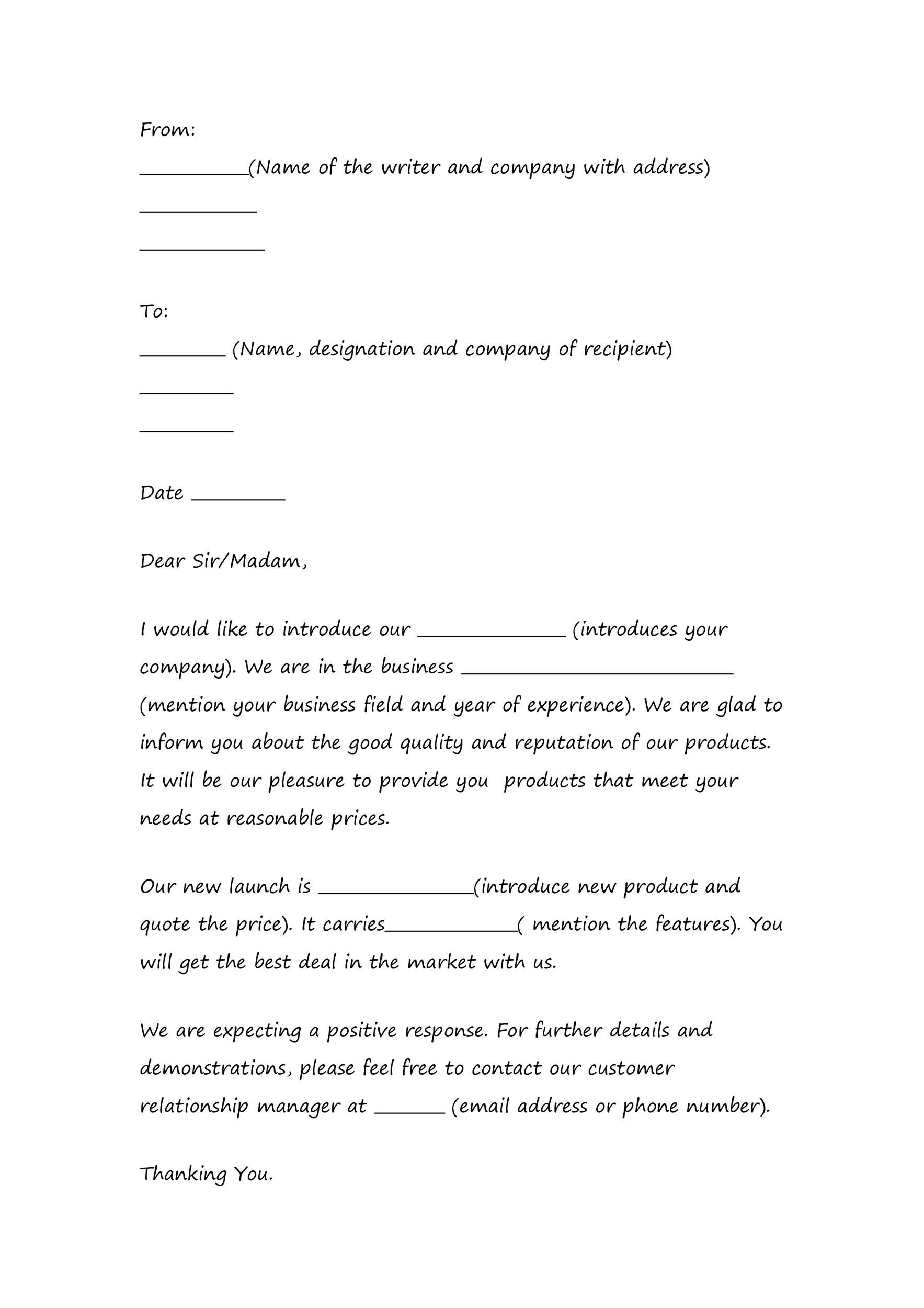 Free sales letter template 01