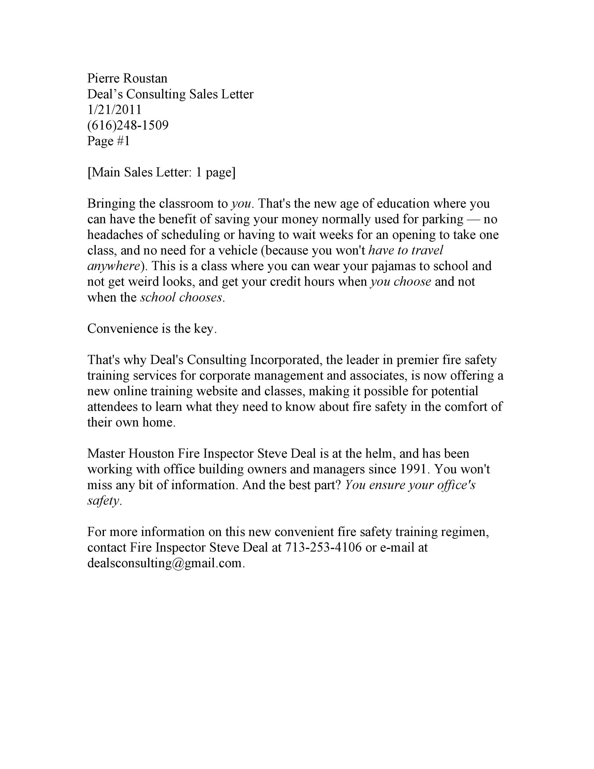 Free sales letter template 03