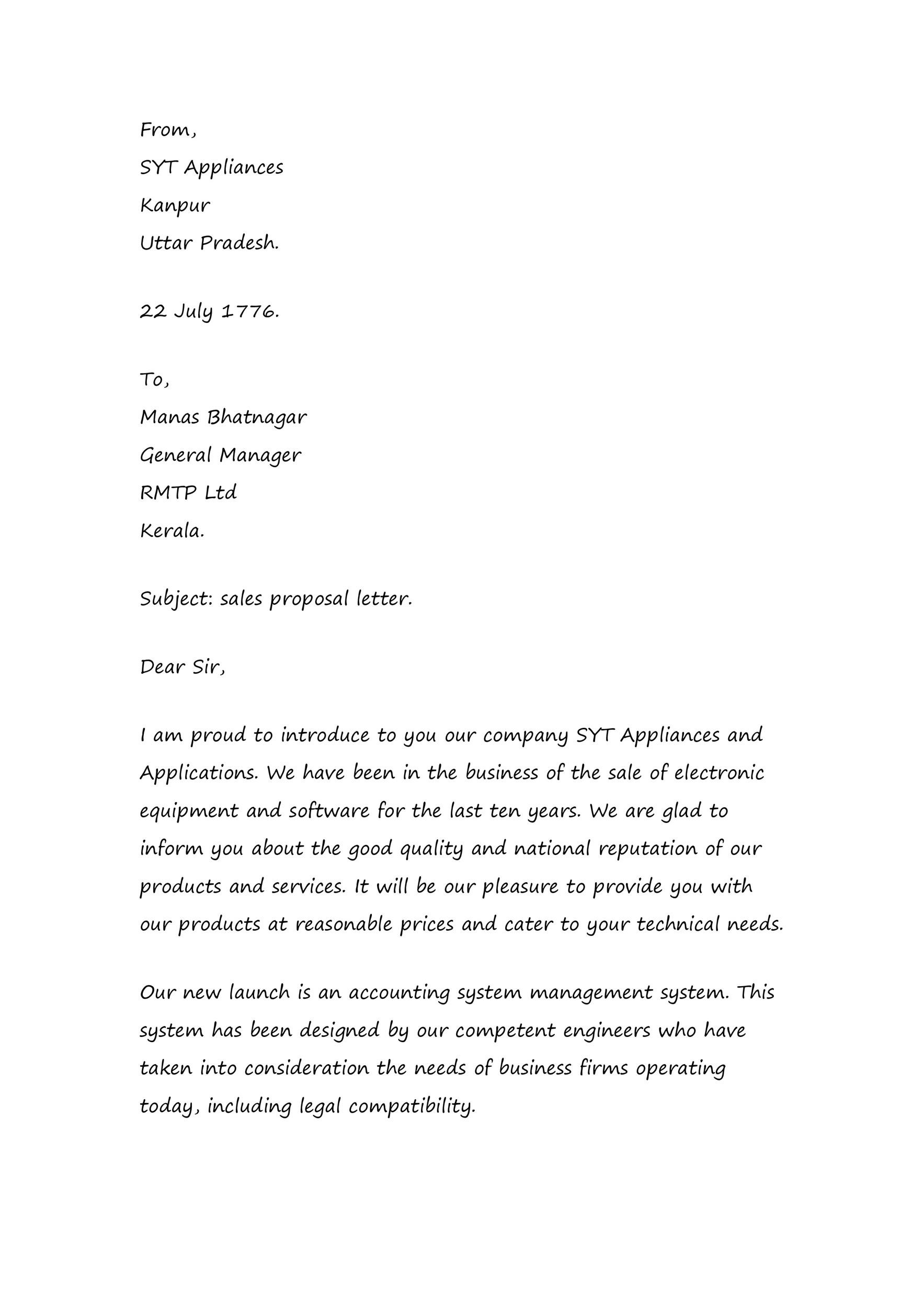 Free sales letter template 04