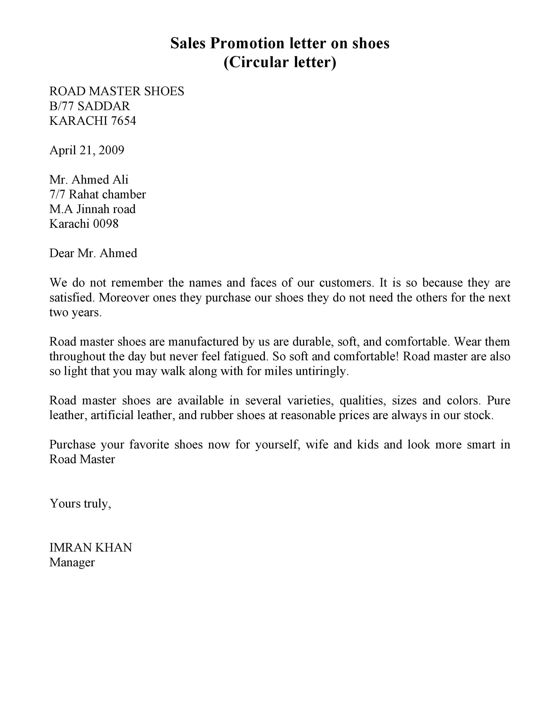 Free sales letter template 06