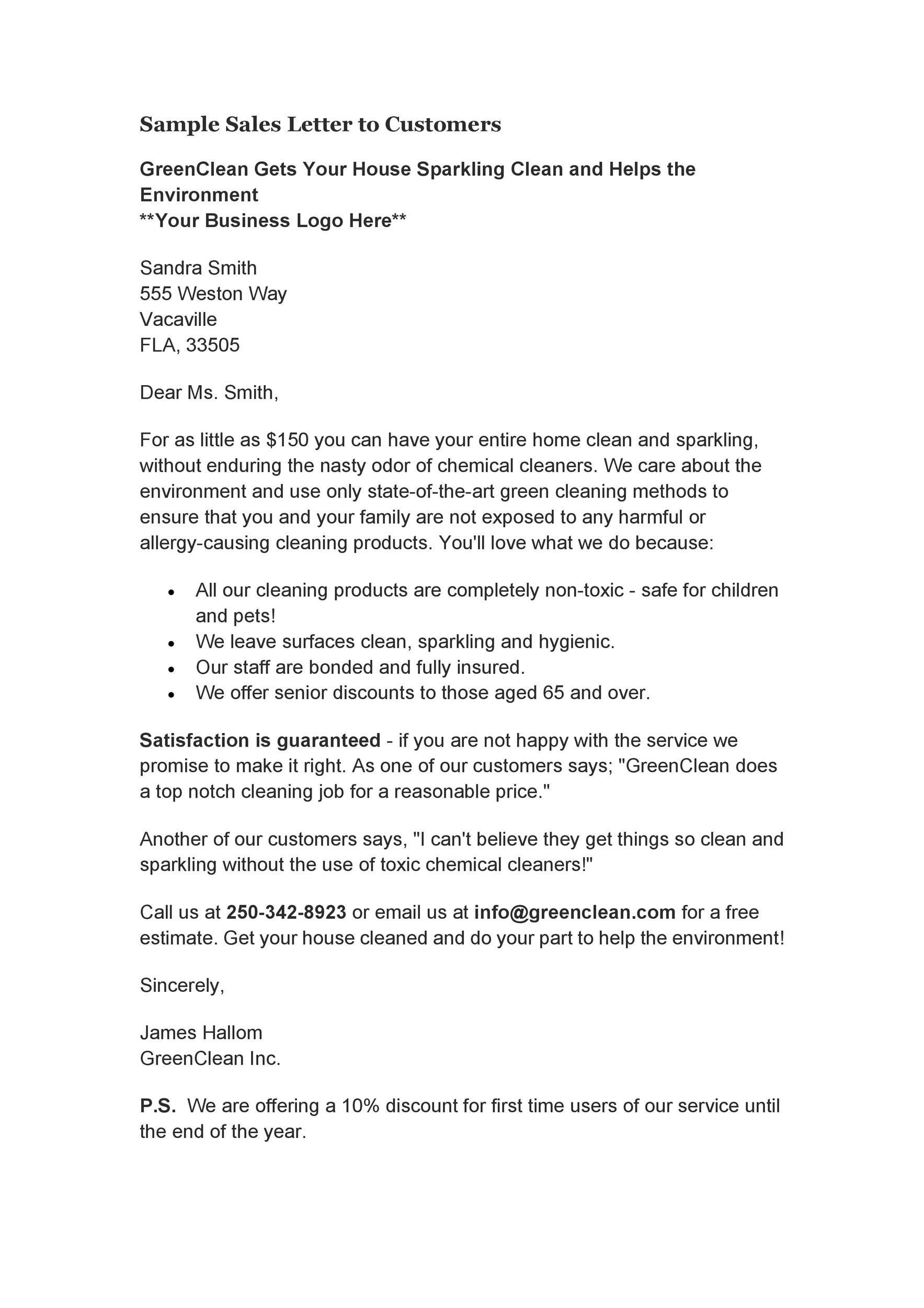 Free sales letter template 10