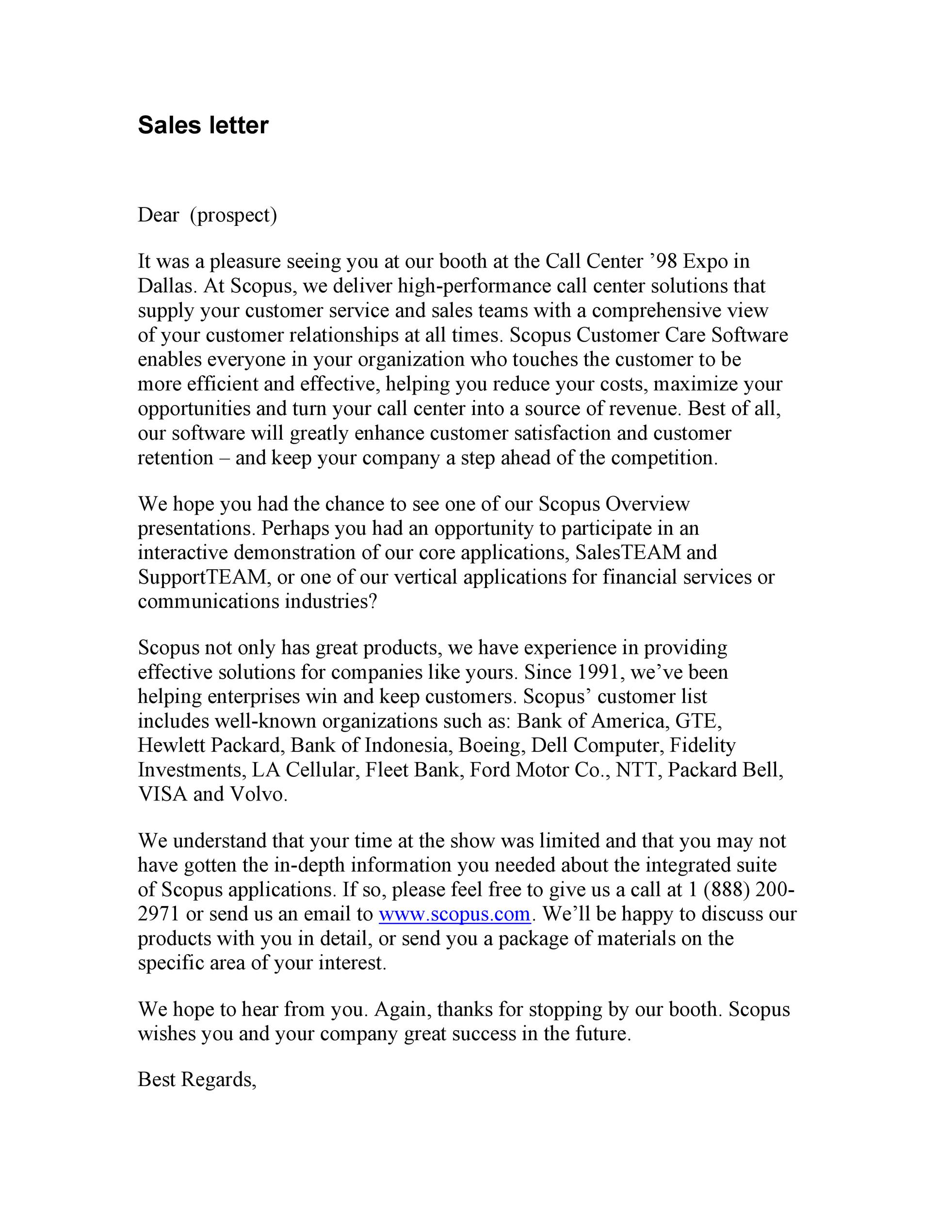 Free sales letter template 25