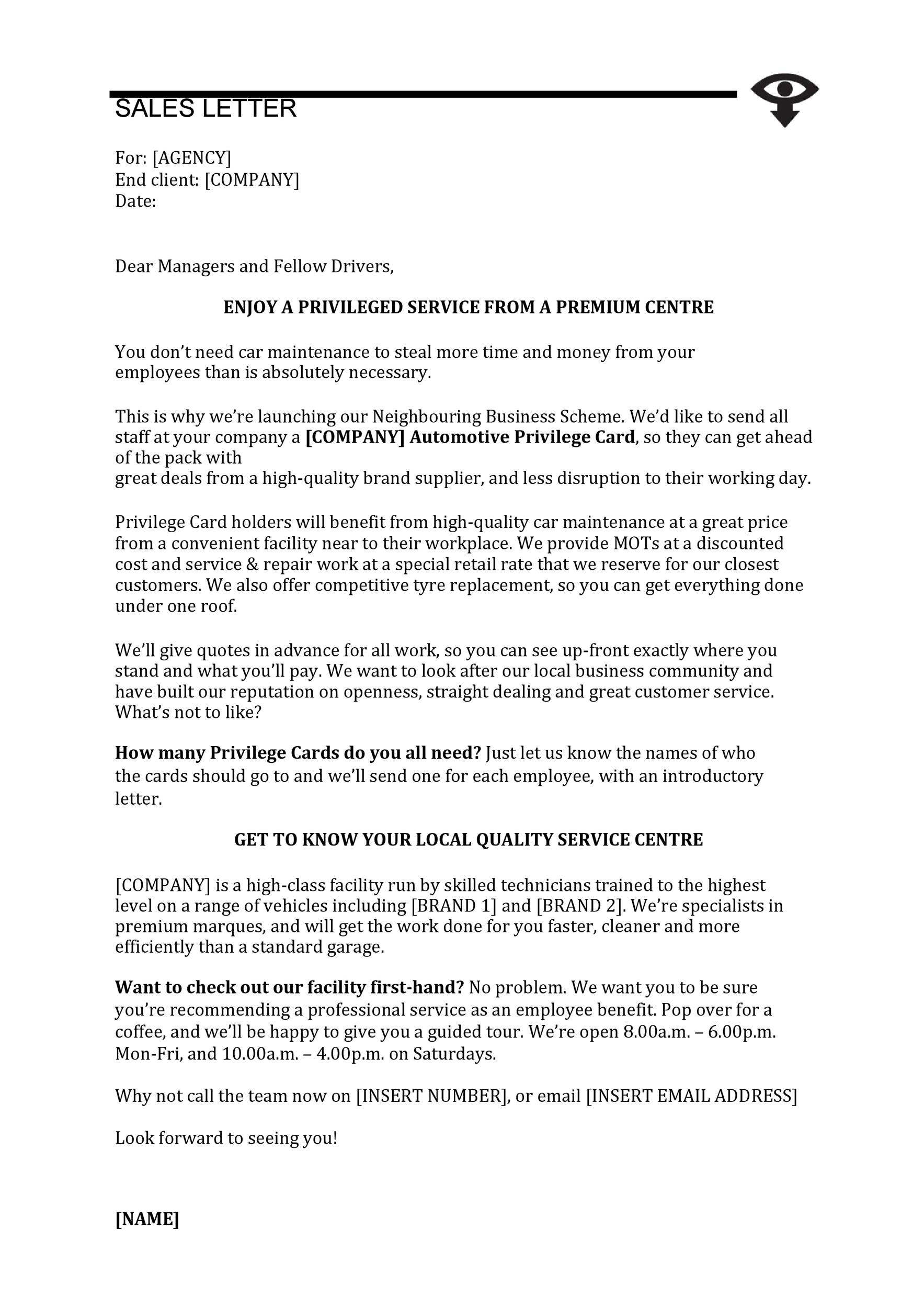 Free sales letter template 30