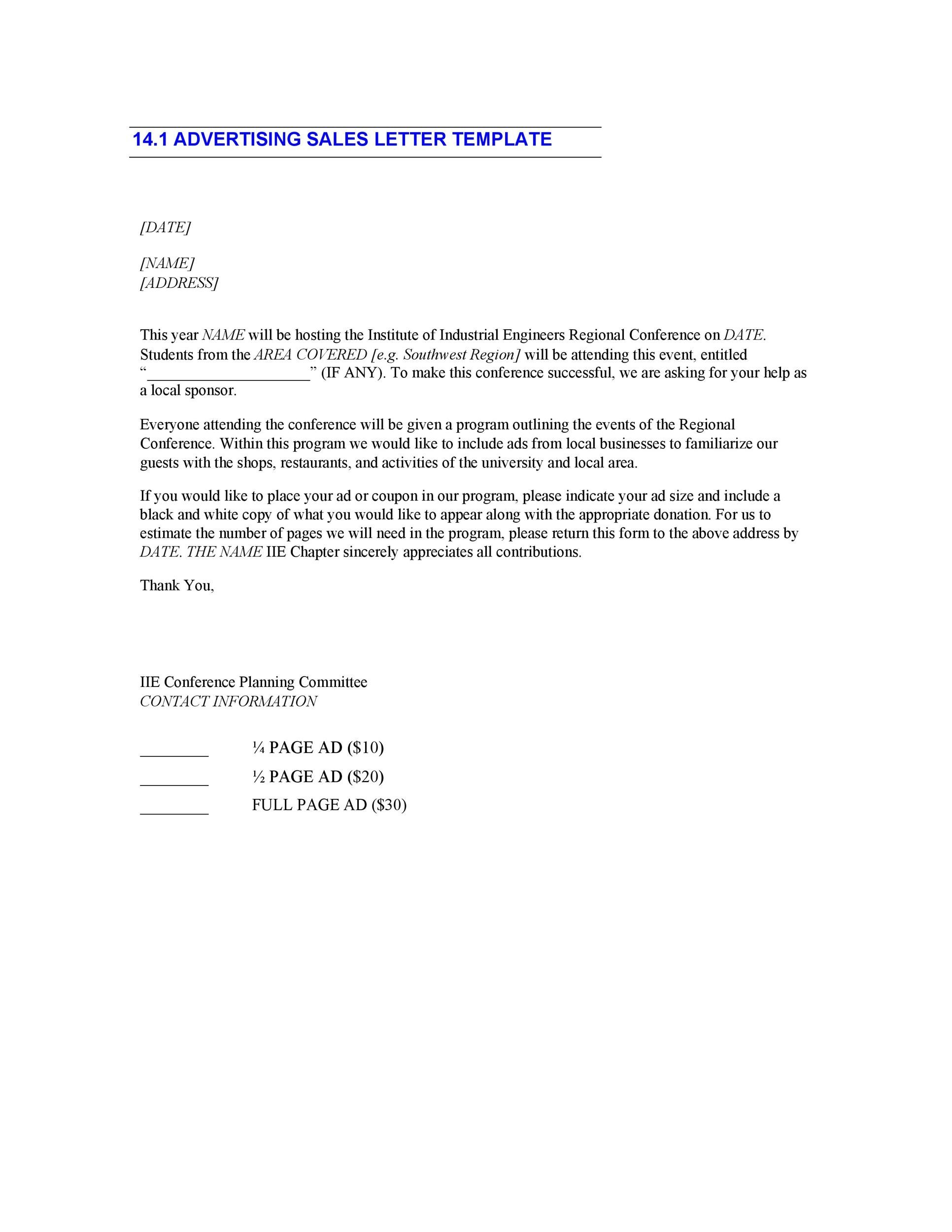 Free sales letter template 40