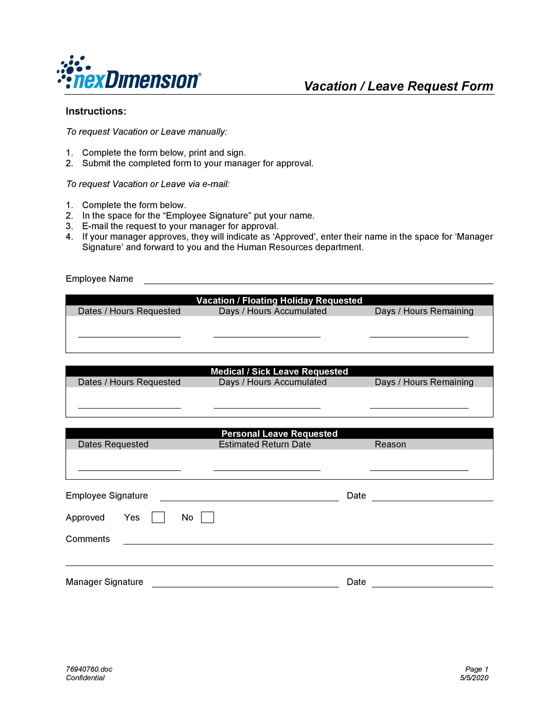 Free vacation request form 01
