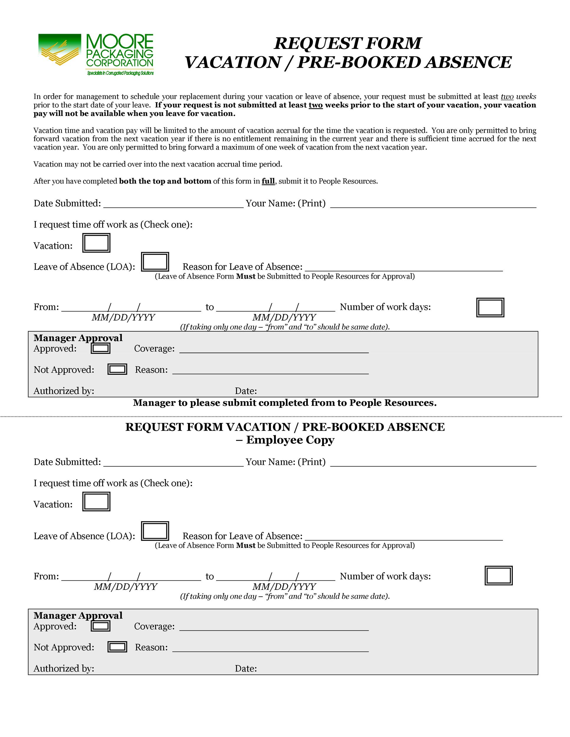 Free vacation request form 05